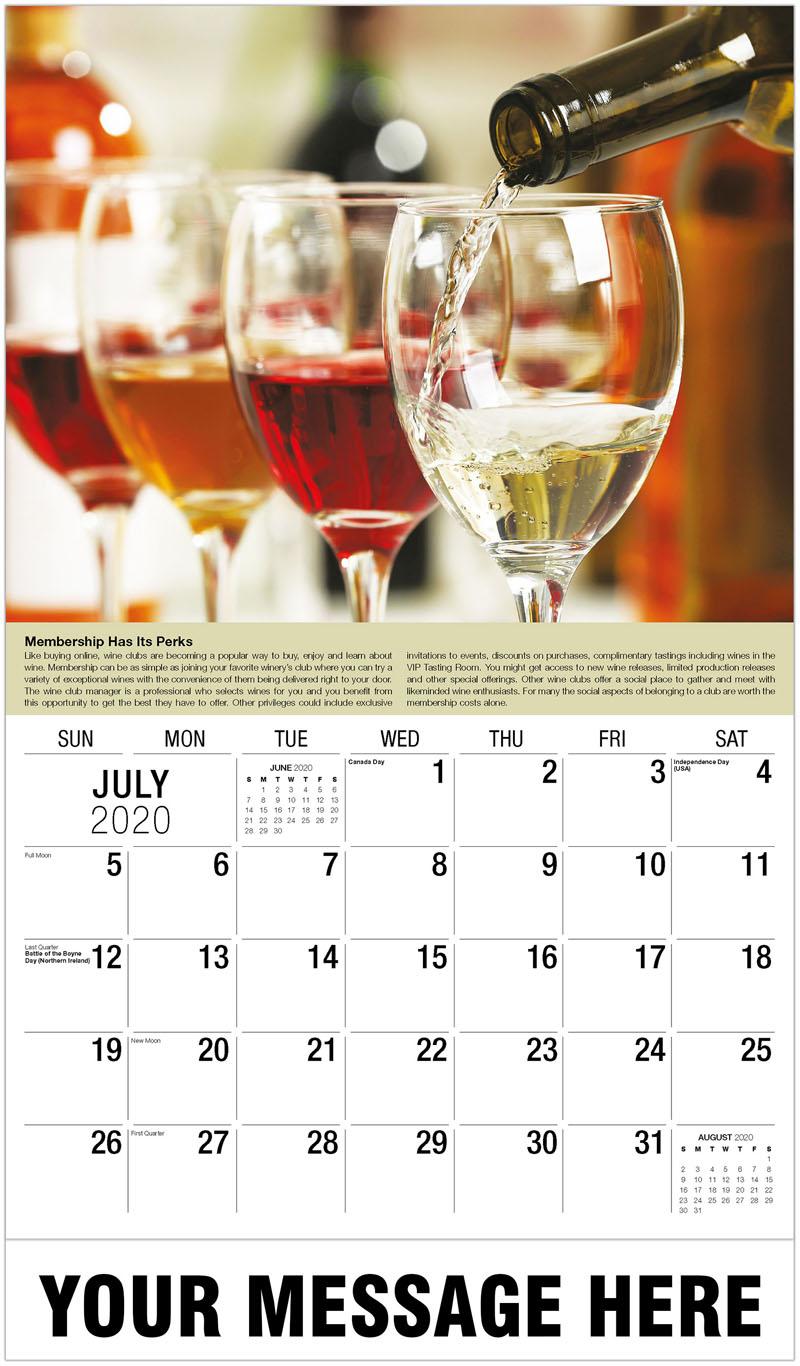2020 Business Advertising Calendar - Wine Flight - July