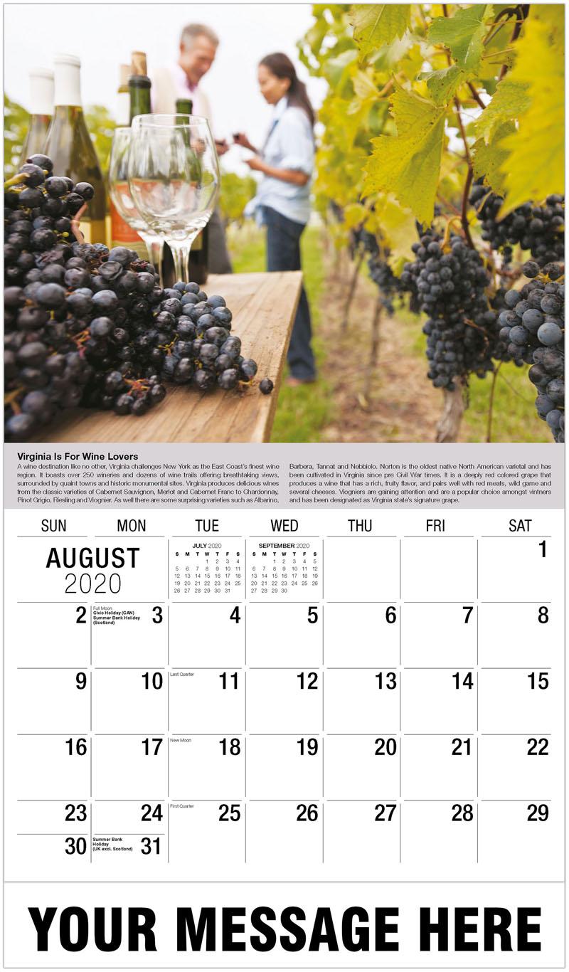 2020 Business Advertising Calendar - People In A Vineyard - August