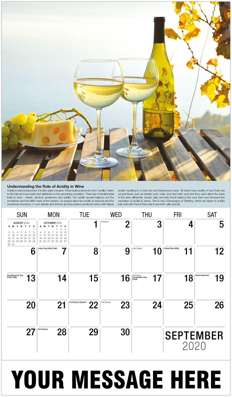2020 Business Promo Calendar Vintages Wine Tasting