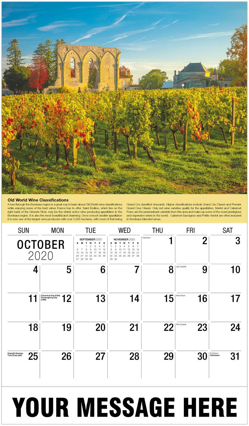 2020 Business Advertising Calendar - Vineyard France Autumn - October