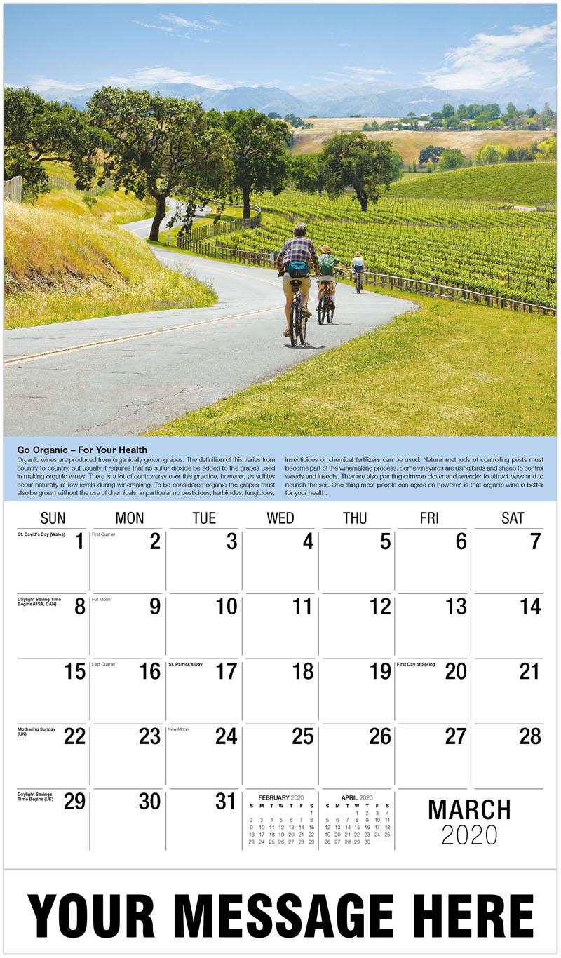 2020 Promo Calendar - Cyclists Vineyard - March