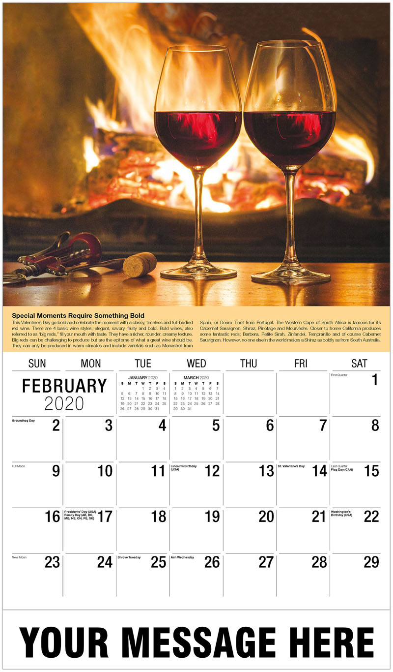 2020 Promotional Calendar - Two Glasses Of Red Wine - February