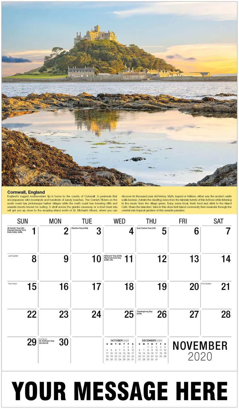 2020 Advertising Calendar - St Michael'S Mount, Cornwall, England - November