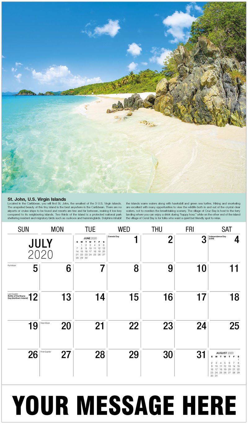 2020 Business Advertising Calendar - Saint John, Us Virign Islands - July