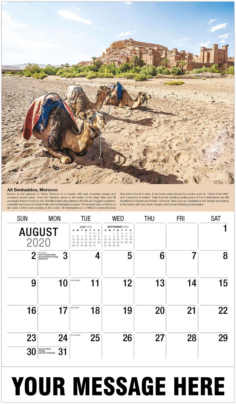 2020 Business Advertising Calendar - Ait Benhaddou, Morocco - August