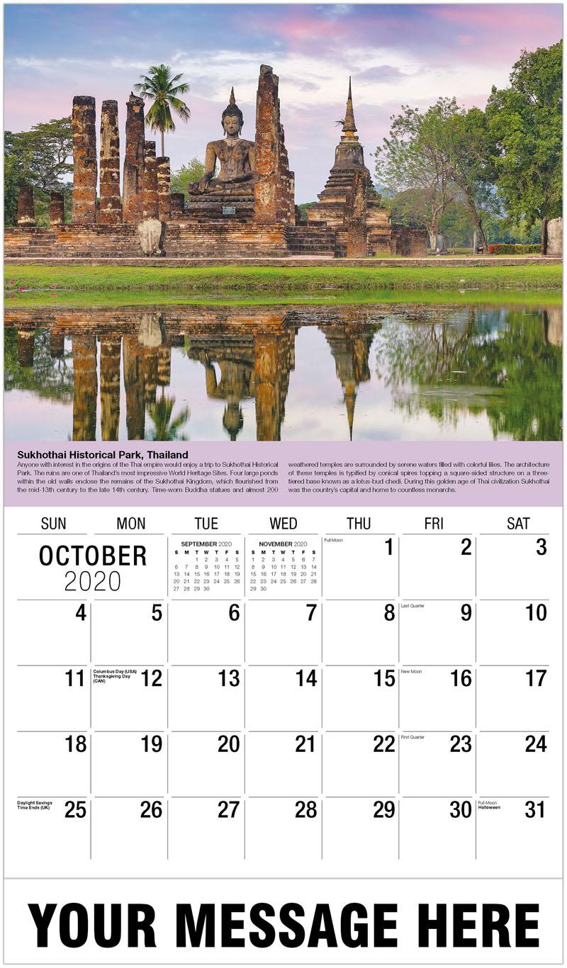 2020 Business Advertising Calendar - Sukhothai Historical Park, Thailand - October