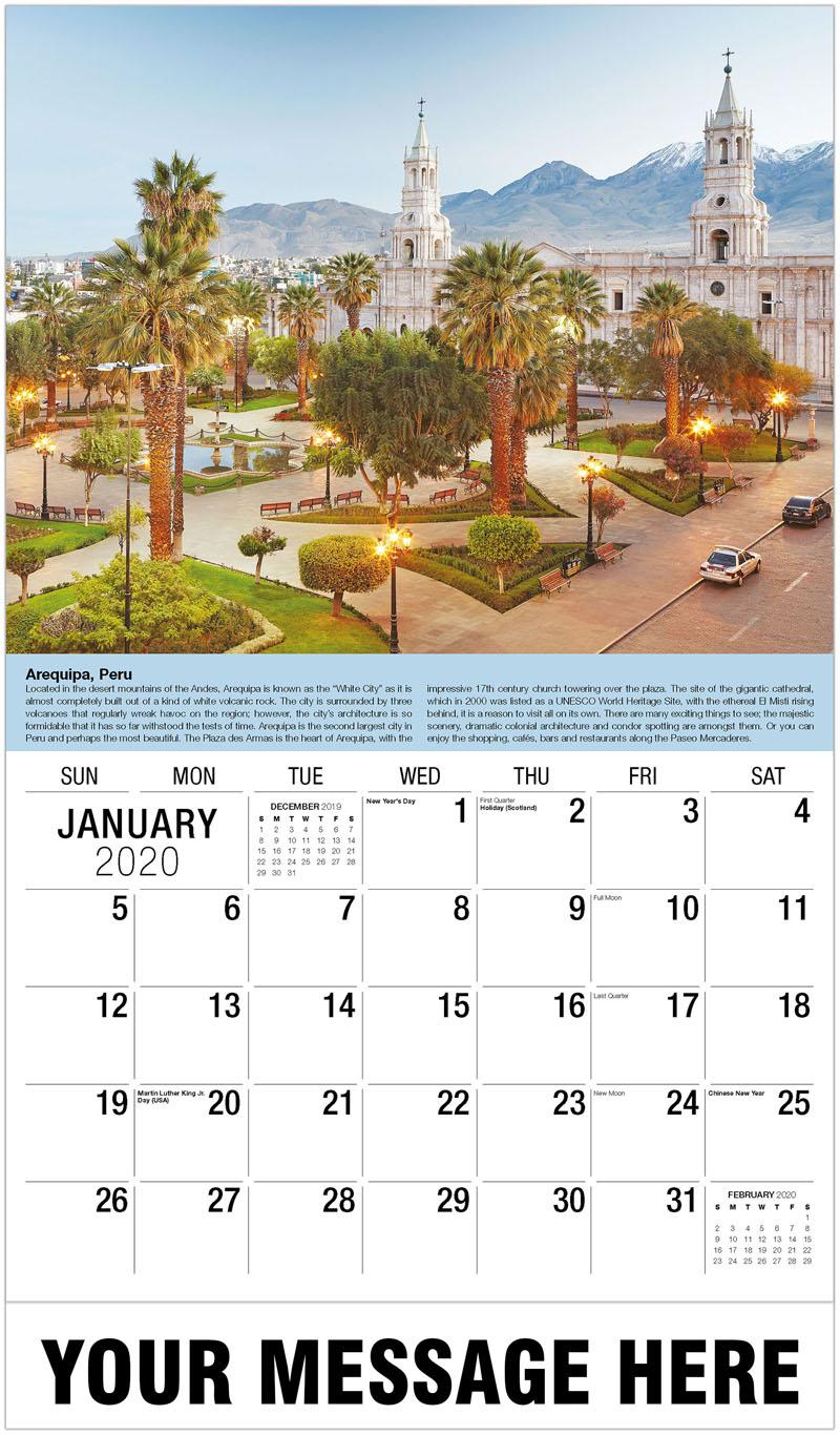 2020 Promo Calendar - Plaza De Armas, Arequipa, Peru - January