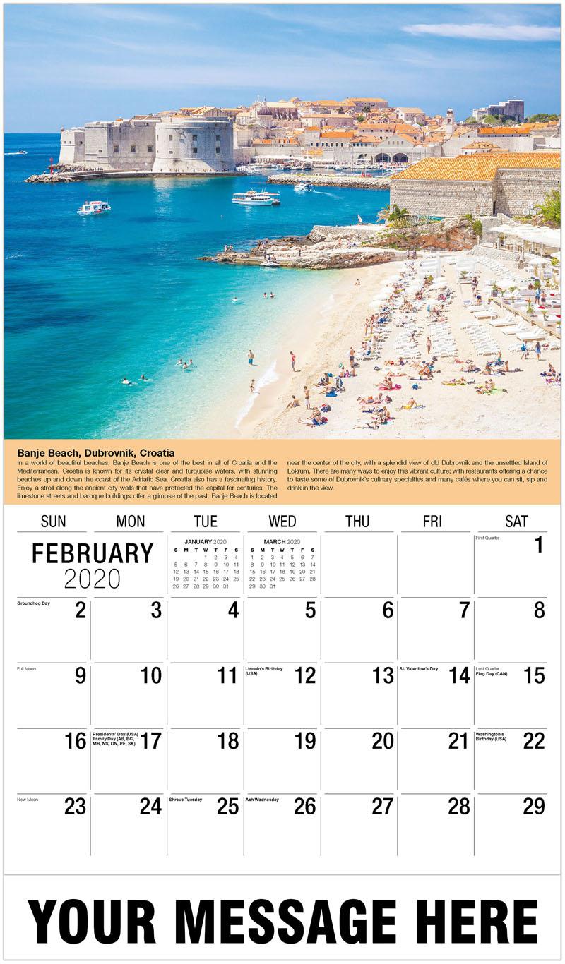 2020 Promo Calendar - Banje Beach, Dubrovnik, Croatia - February