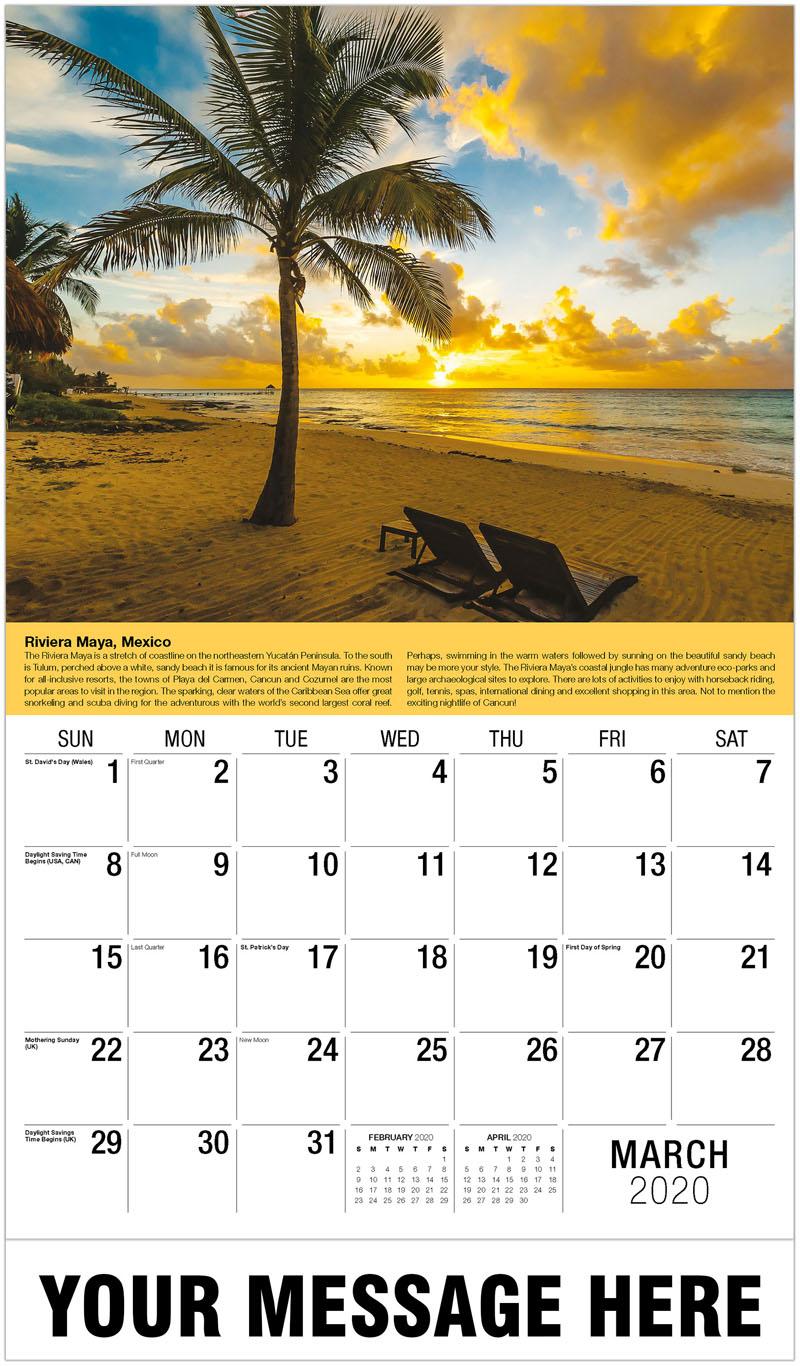 2020 Promotional Calendar - Riviera Maya, Mexico - March