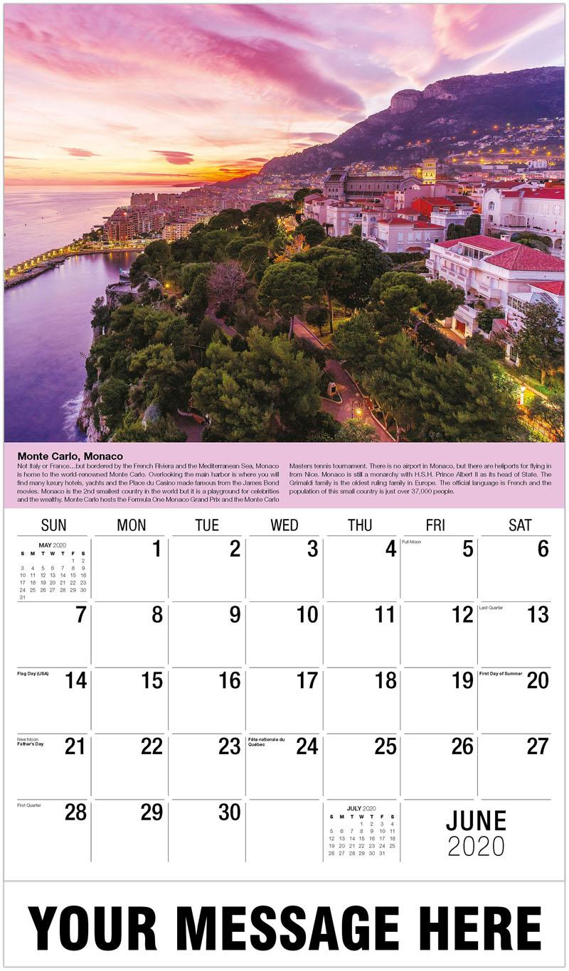 2020 Promotional Calendar - Monte Carlo, Monaco - June