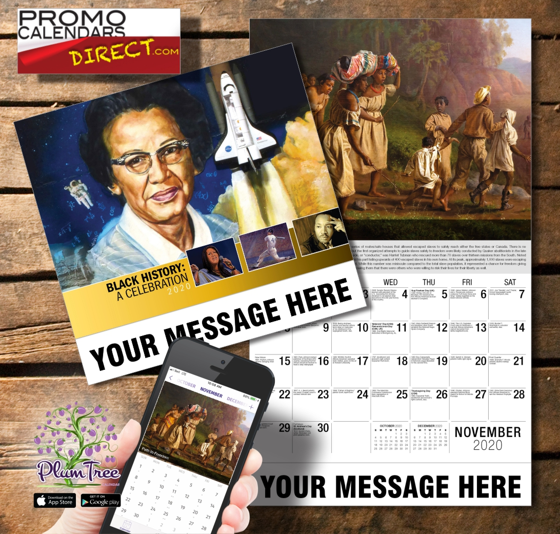 2020 Business Promotion Calendar - black history and PlumTree app