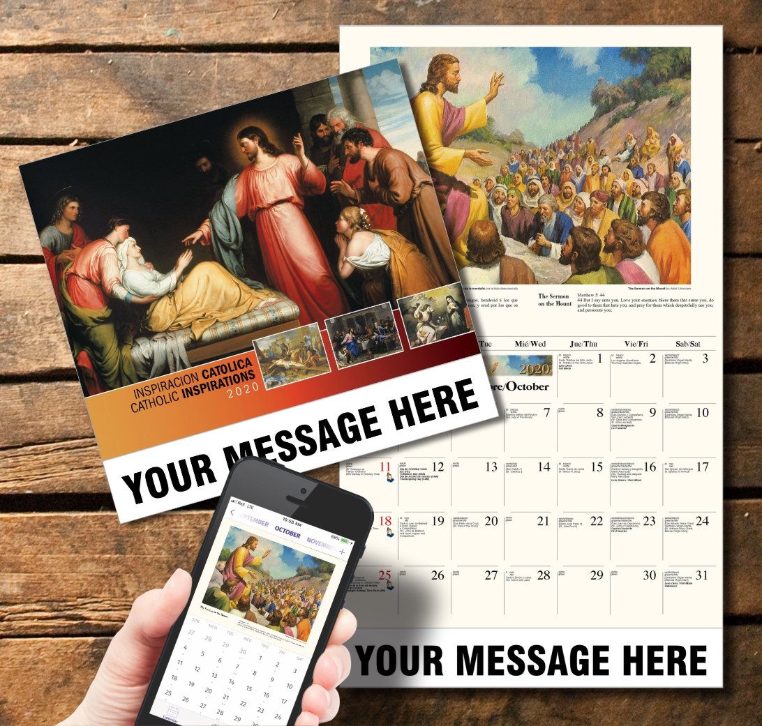 2020 Business Promotion Calendar - Catholic Inspirations Bilingual and PlumTree app