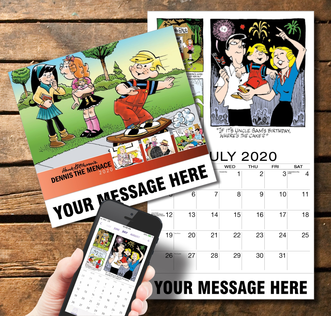 2020 Business Promotion Calendar - Dennis the Menace and PlumTree app