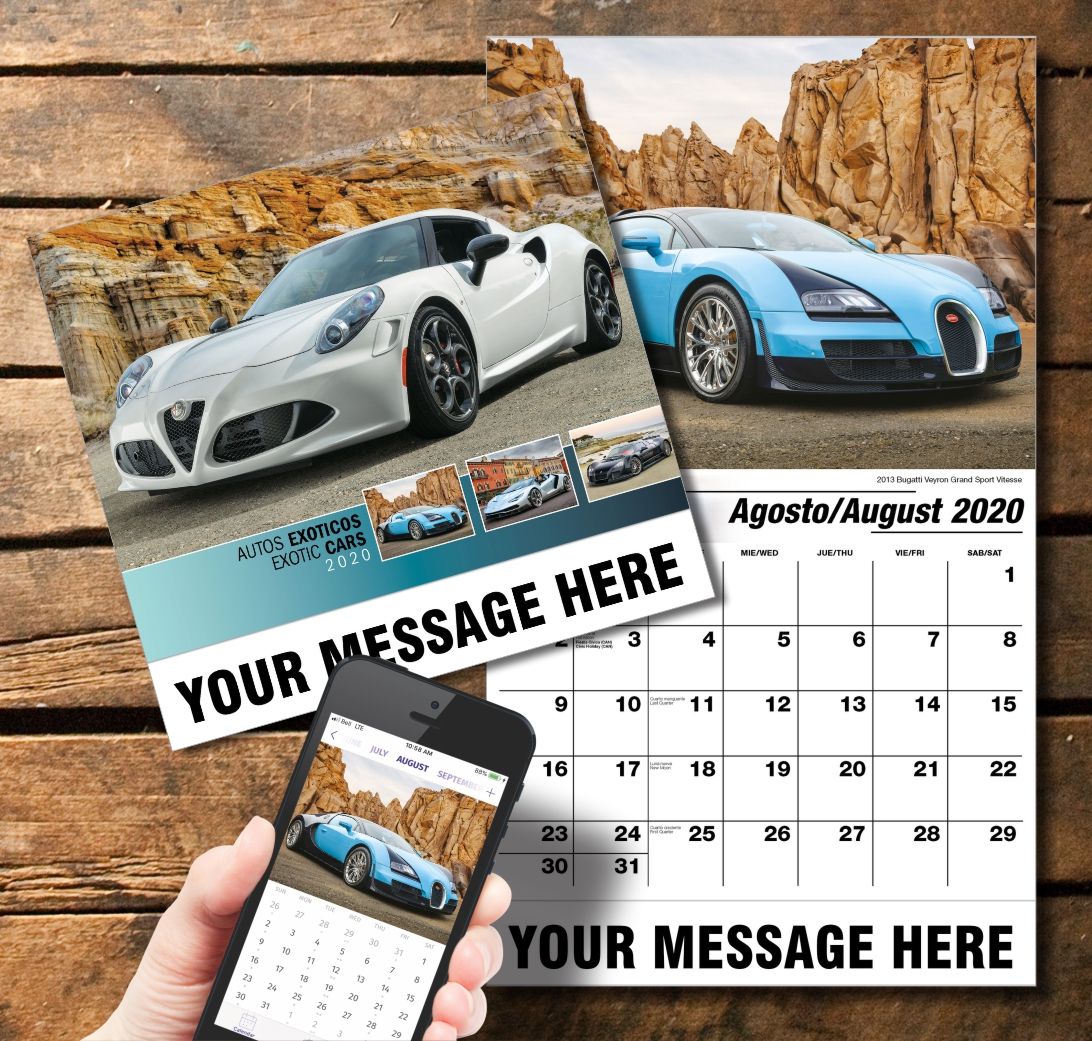 2020 Business Promotion Calendar - Exotic Cars Bilingual and PlumTree app
