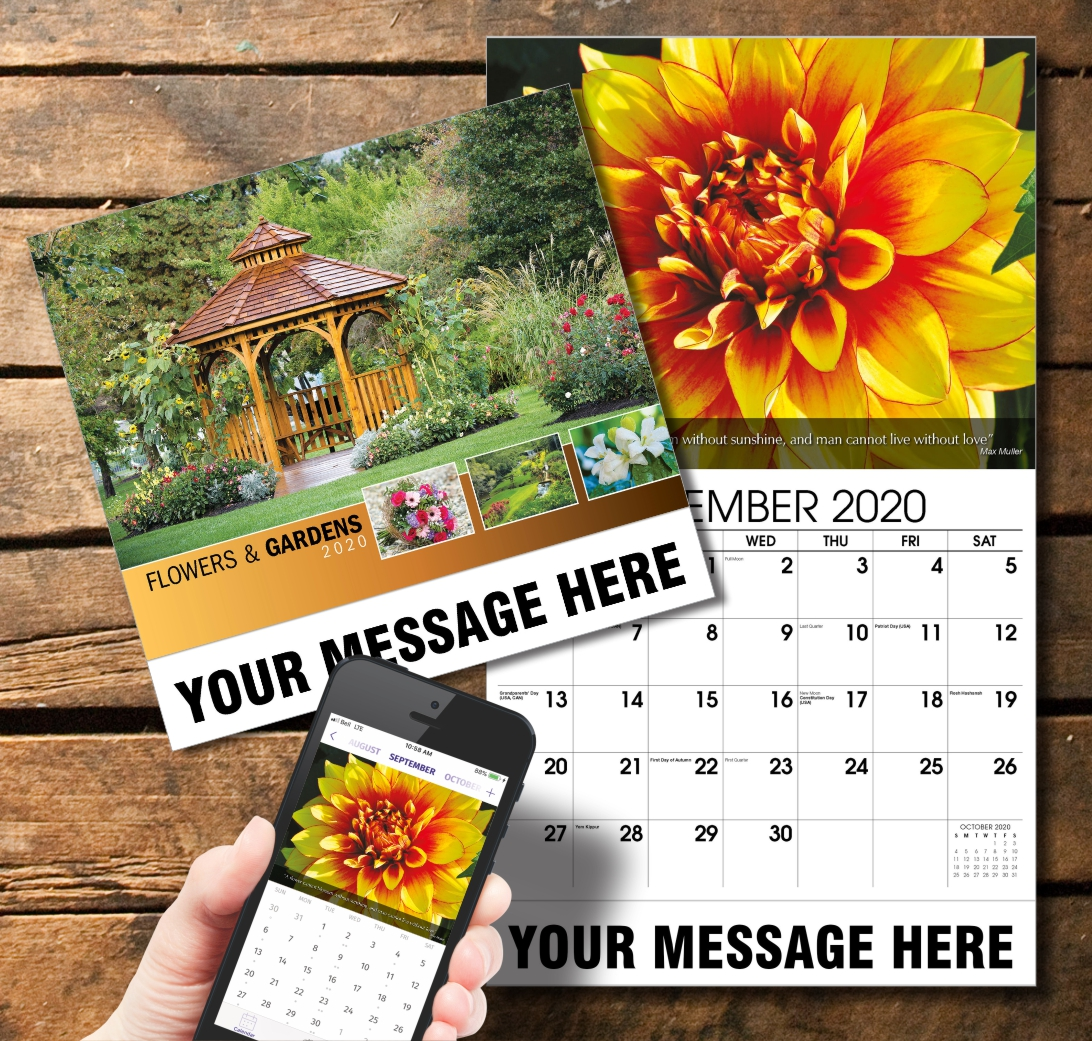 2020 Business Promotion Calendar - Flowers and Gardens and PlumTree app
