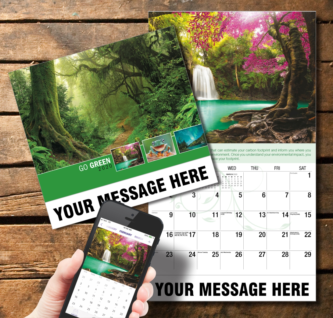 2020 Business Promotion Calendar - go green and PlumTree app