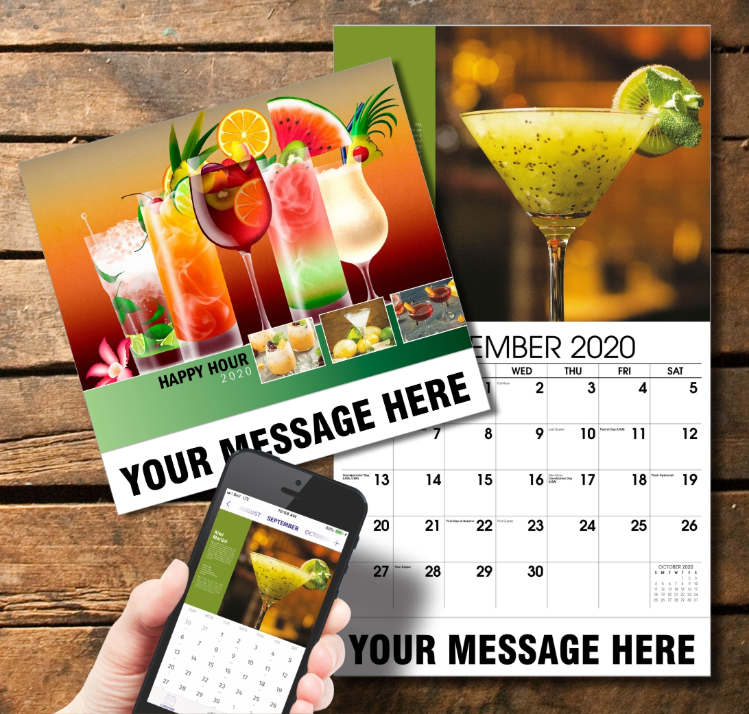 2020 Business Promotion Calendar - Happy Hour Cocktails and PlumTree app