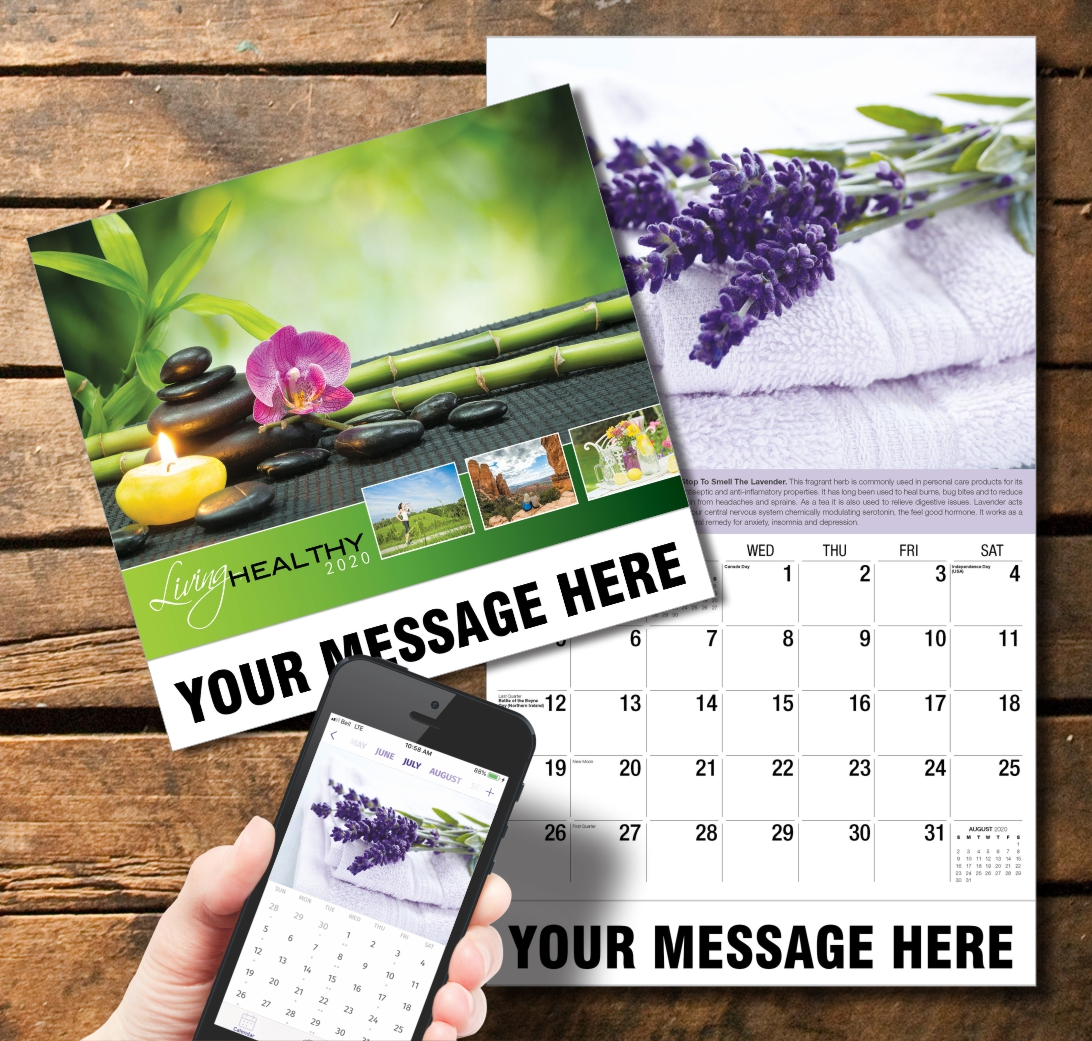 2020 Business Promotion Calendar - living healthy and PlumTree app