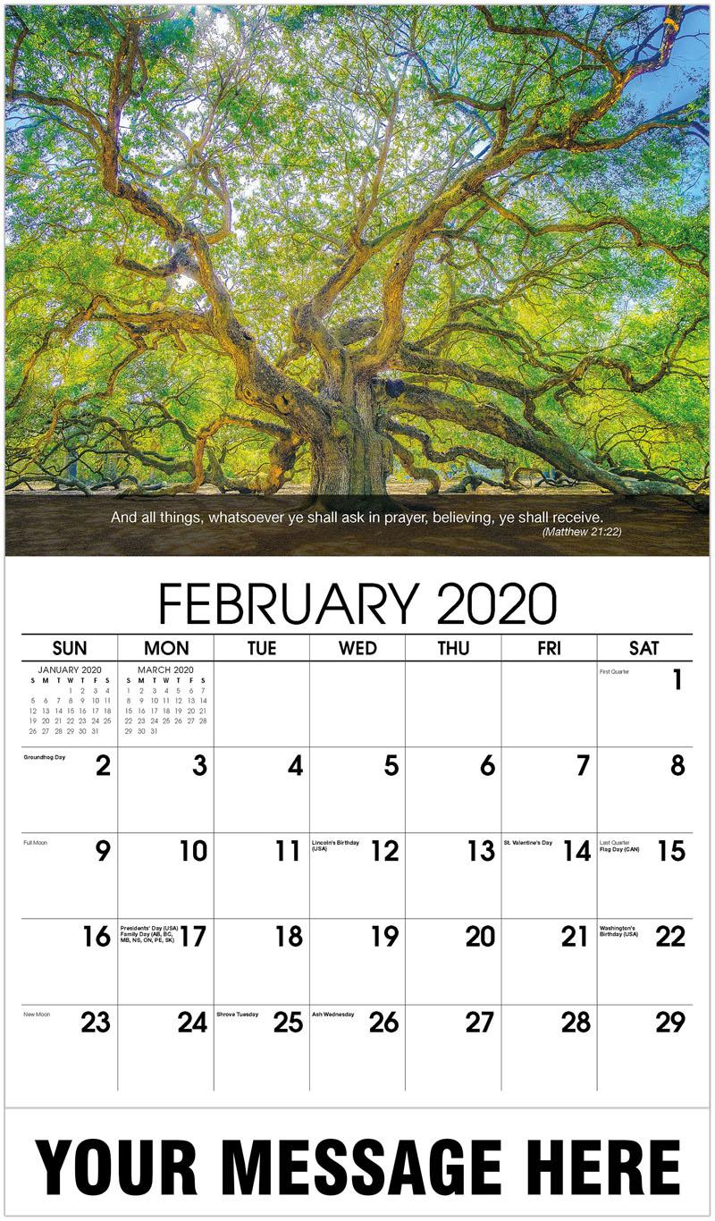 Bible Calendar For February 2020 Church Fund Raising   65¢ Christian Faith 2020 Promotional Calendar