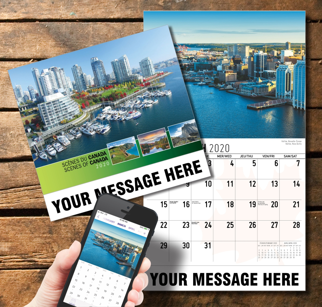 2020 Business Promotion Calendar - Scenes of Canada Bilingual and PlumTree app