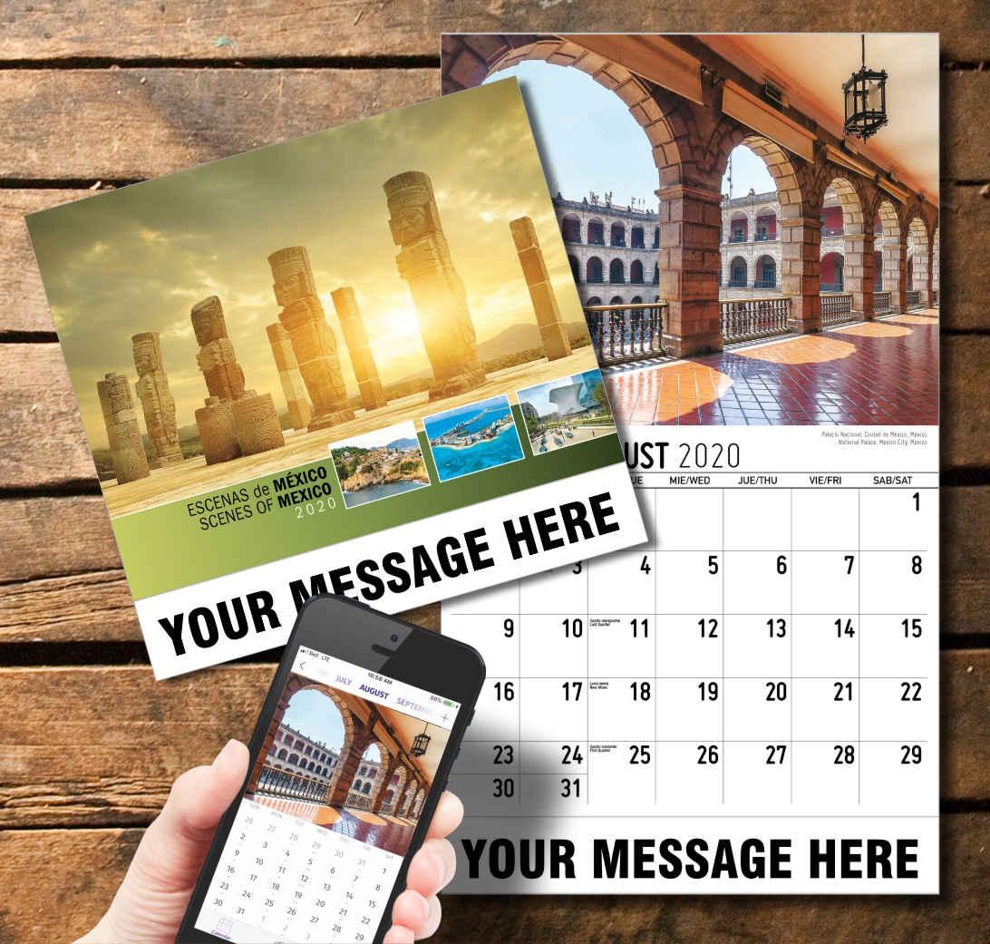 2020 Business Promotion Calendar - Scenes of Mexico Bilingual and PlumTree app