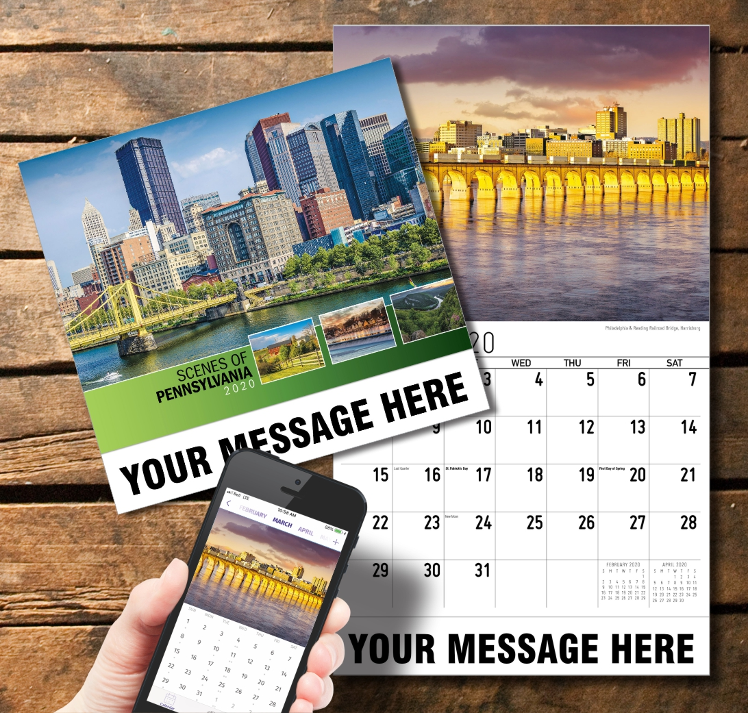2020 Business Promotion Calendar - Scenes of Pennsylvania and PlumTree app