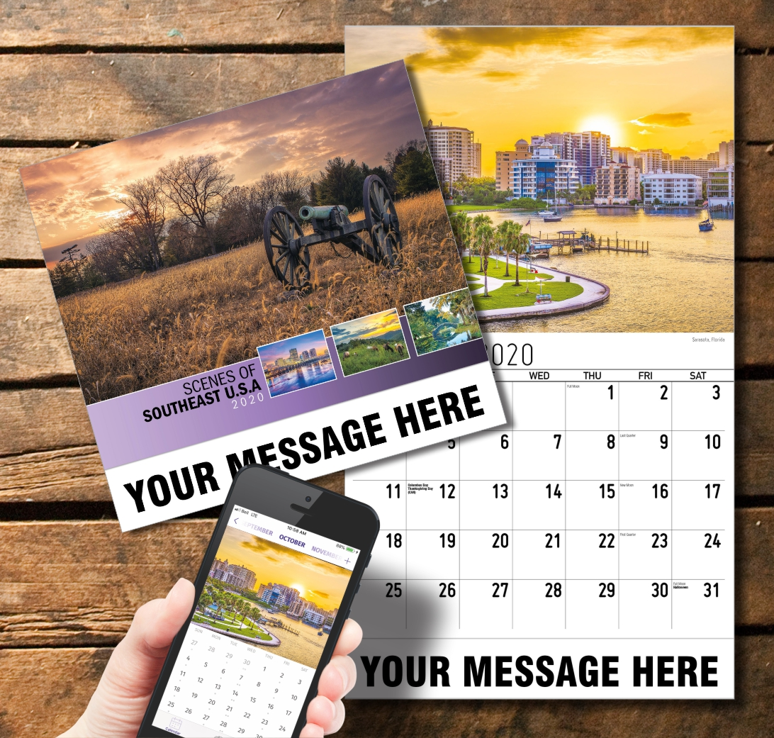 2020 Business Promotion Calendar - Scenes of Southeast USA and PlumTree app