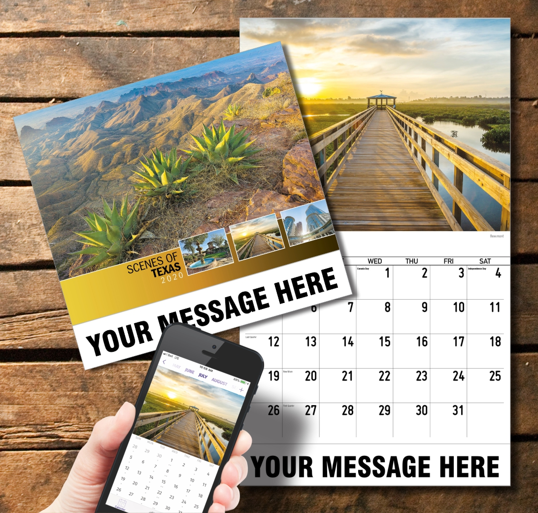 2020 Business Promotion Calendar - Scenes of Texas and PlumTree app