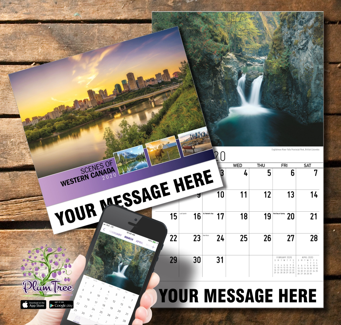 2020 Business Promotion Calendar - Scenes of Western Canada and PlumTree app