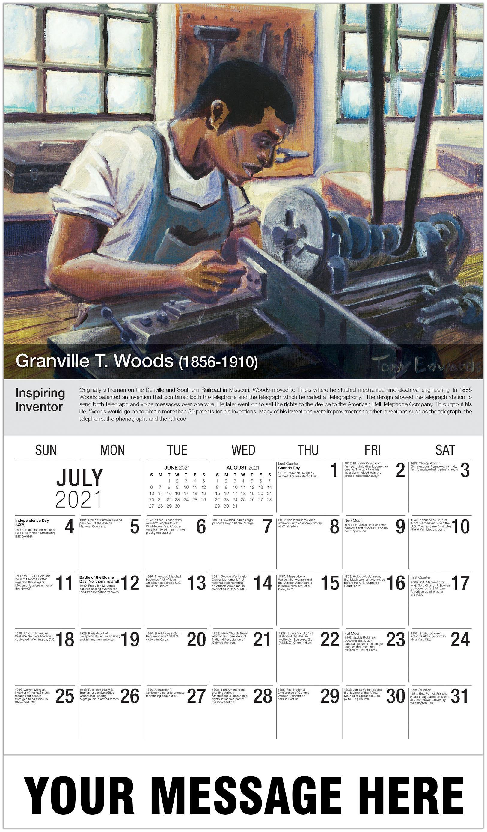 Granville T. Woods - July - Black History 2021 Promotional Calendar