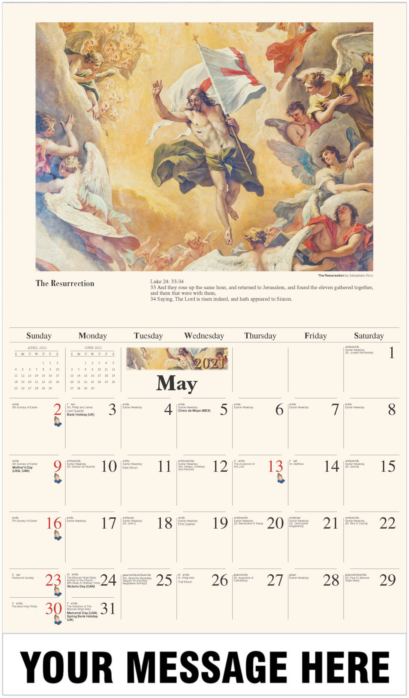 The Resurrection - May - Catholic Inspiration 2021 Promotional Calendar