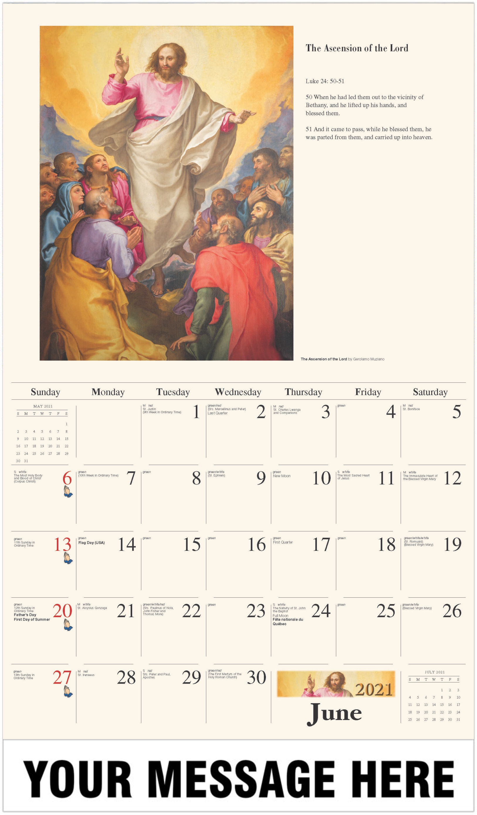 The Ascension - June - Catholic Inspiration 2021 Promotional Calendar