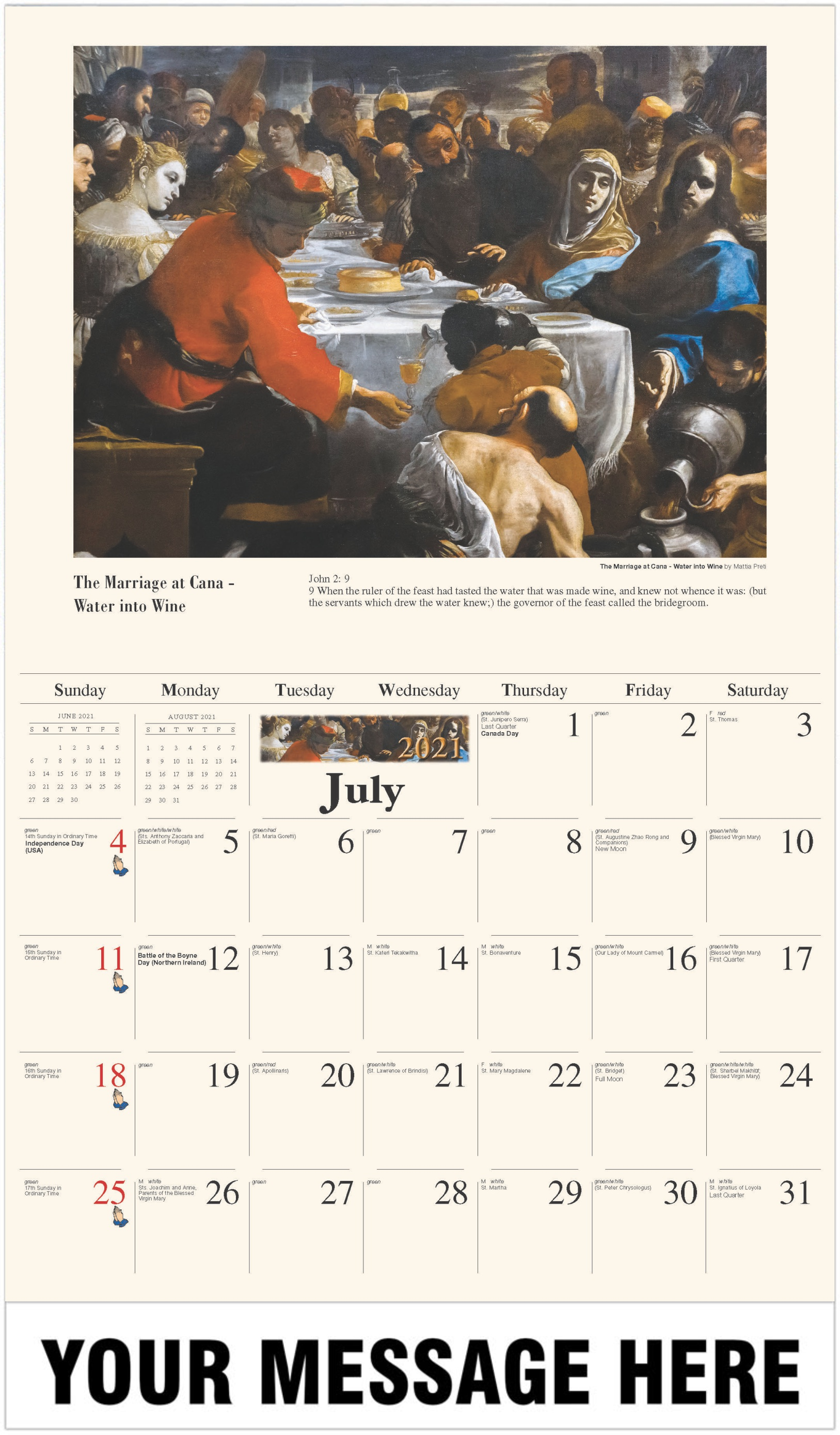 The Marriage at Cana - July - Catholic Inspiration 2021 Promotional Calendar