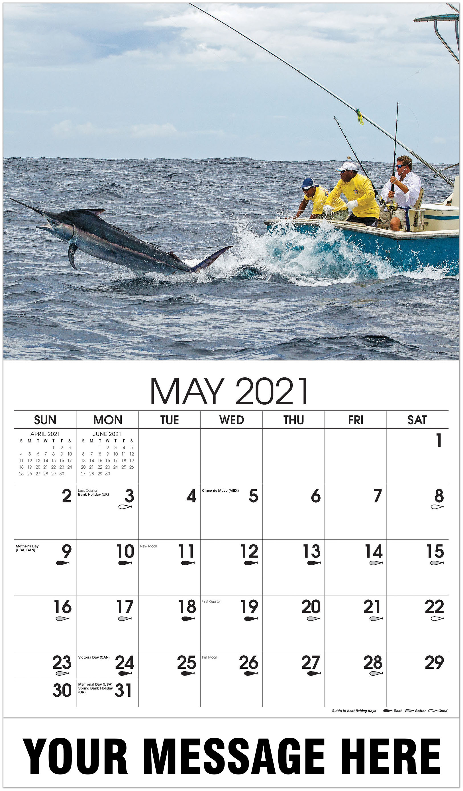 sword fish hunting - May - Fishing & Hunting 2021 Promotional Calendar