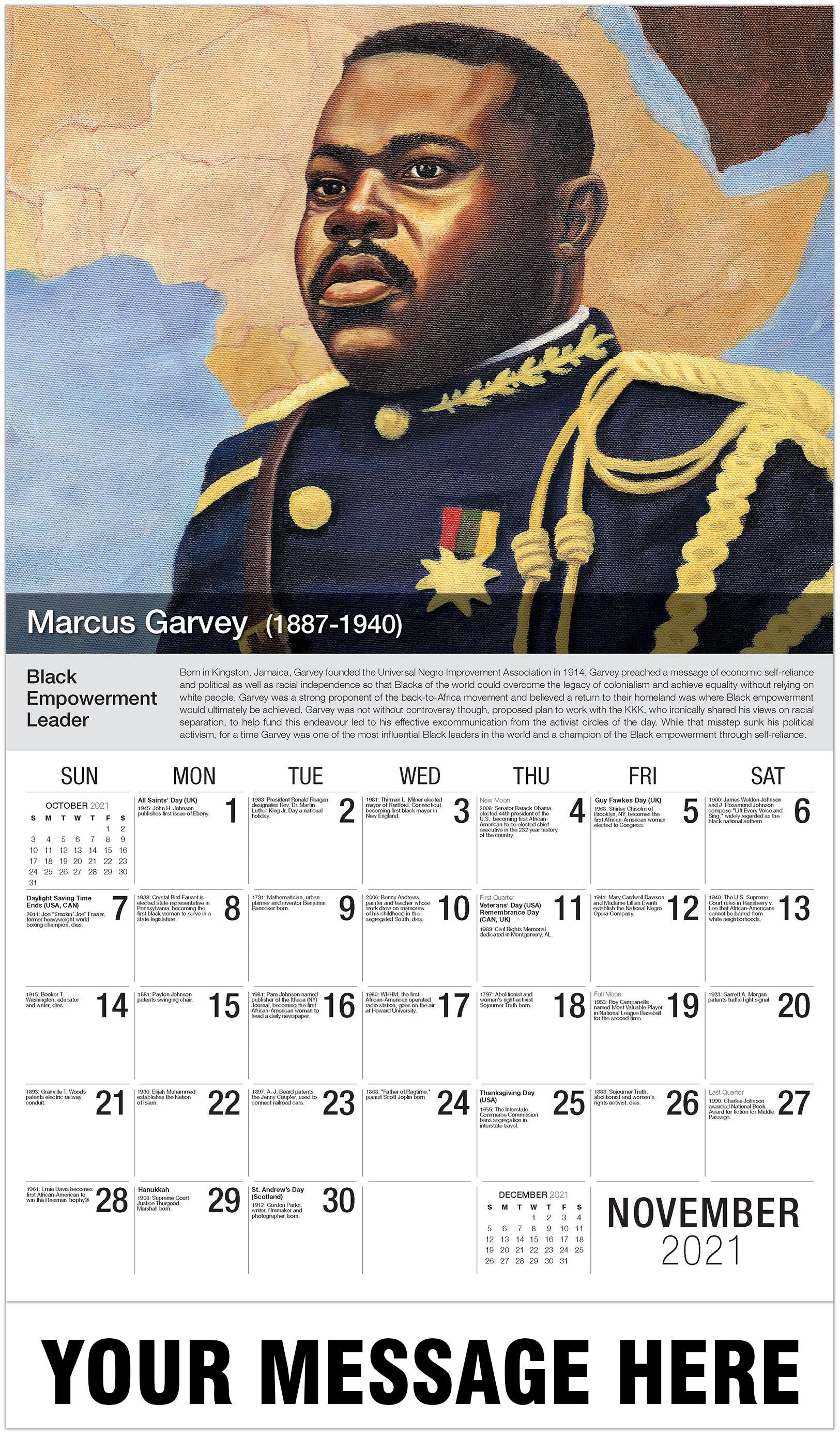 Marcus Garvey - November - Black History 2021 Promotional Calendar