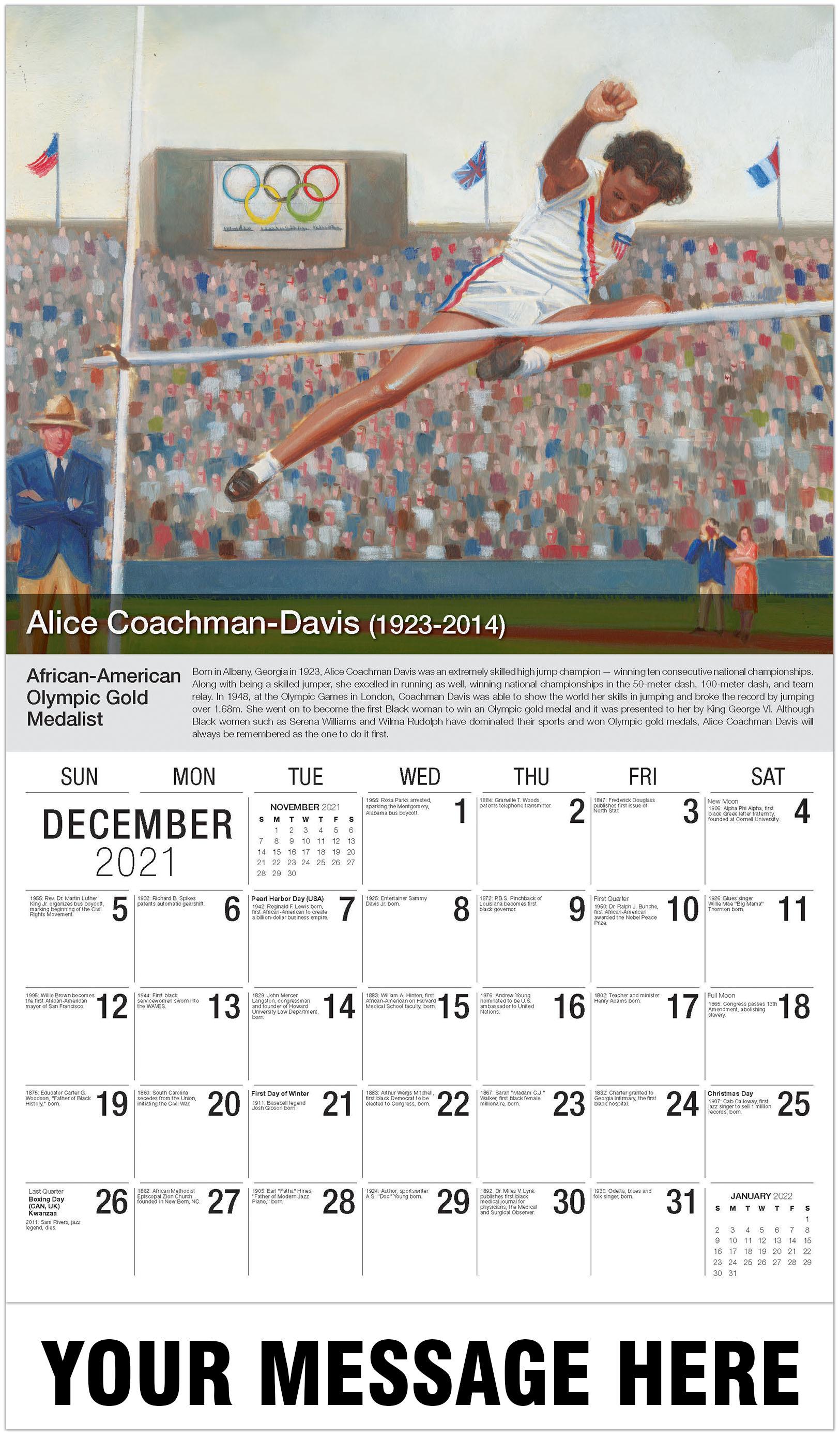 Alice Coachman - December 2021 - Black History 2021 Promotional Calendar