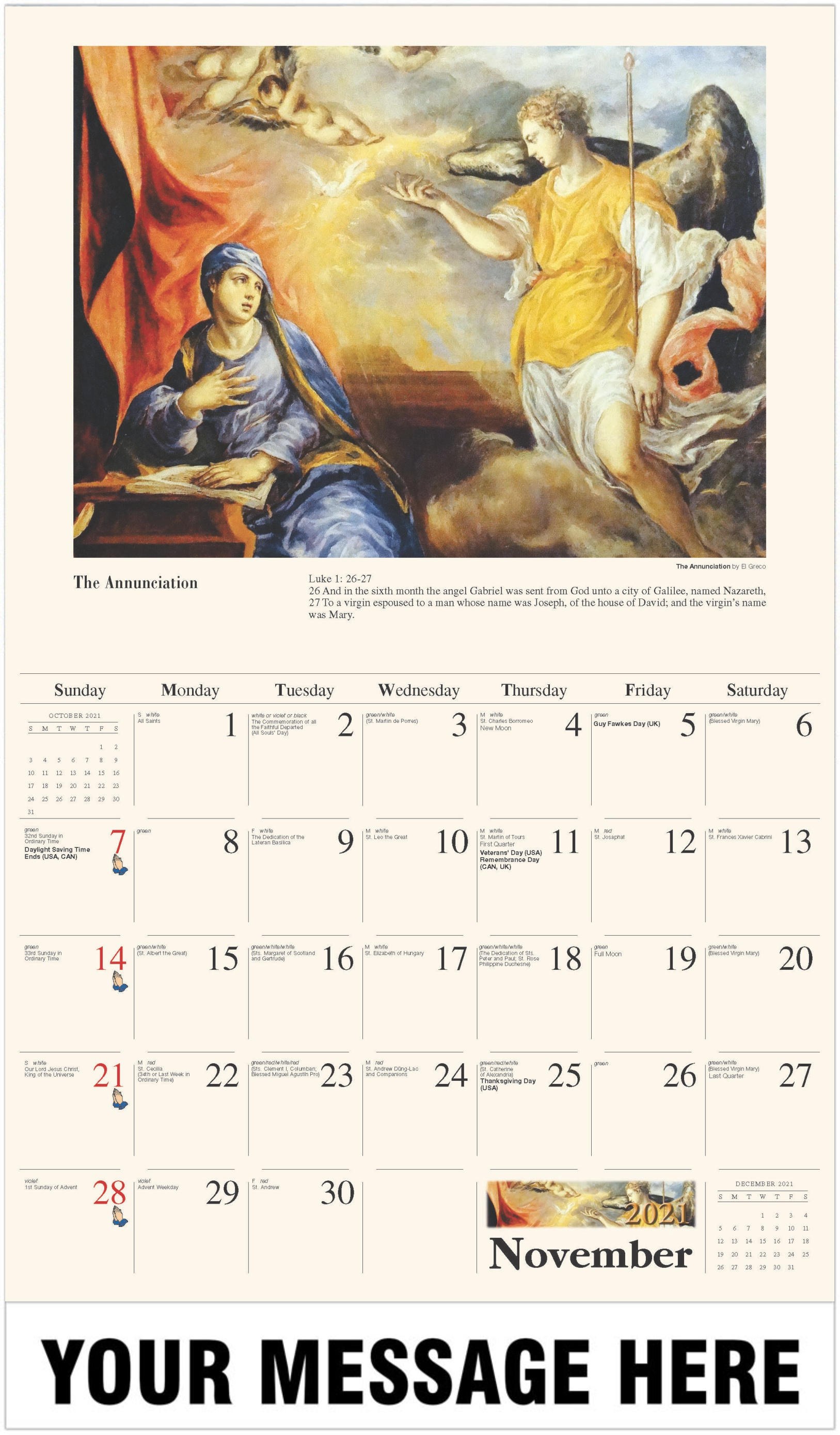The Annunciation - November - Catholic Inspiration 2021 Promotional Calendar