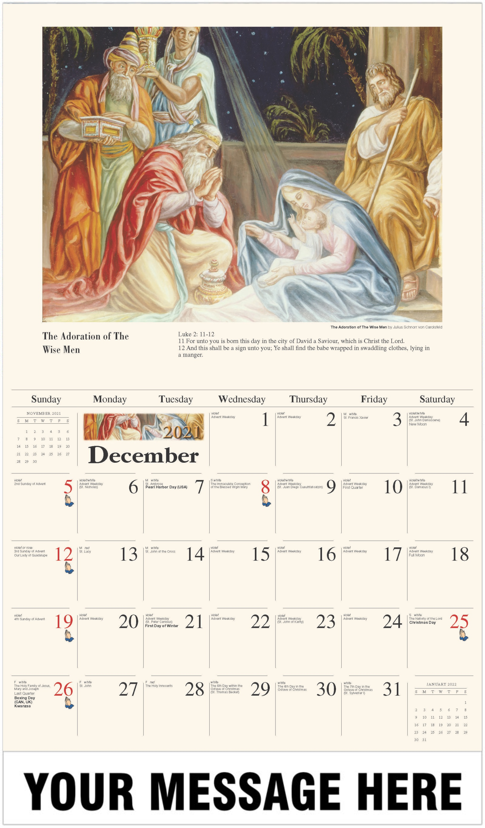 Adoration of the Wise Men - December 2021 - Catholic Inspiration 2021 Promotional Calendar