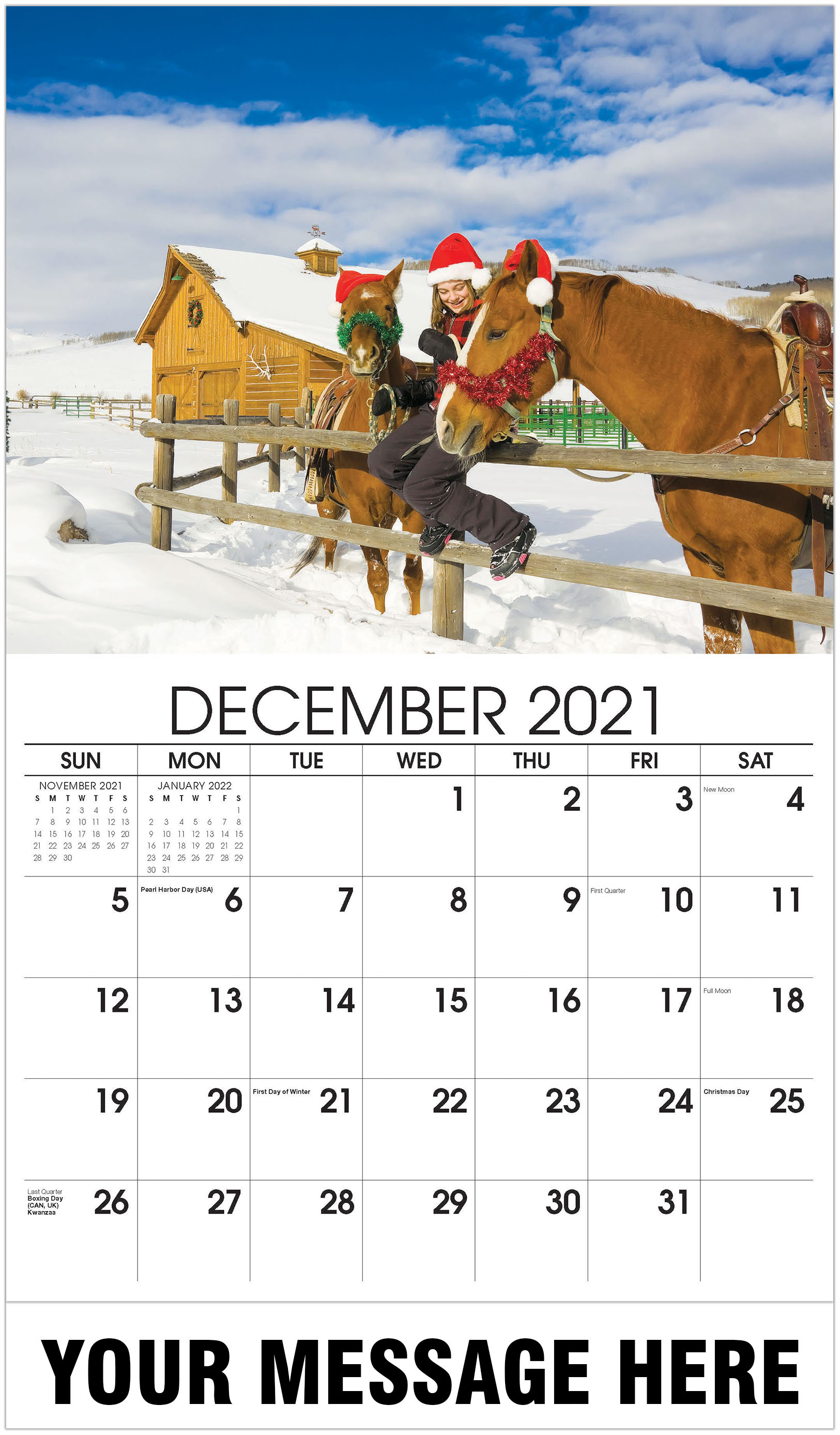 Christmas girl with horses - December 2021 - Country Spirit 2021 Promotional Calendar