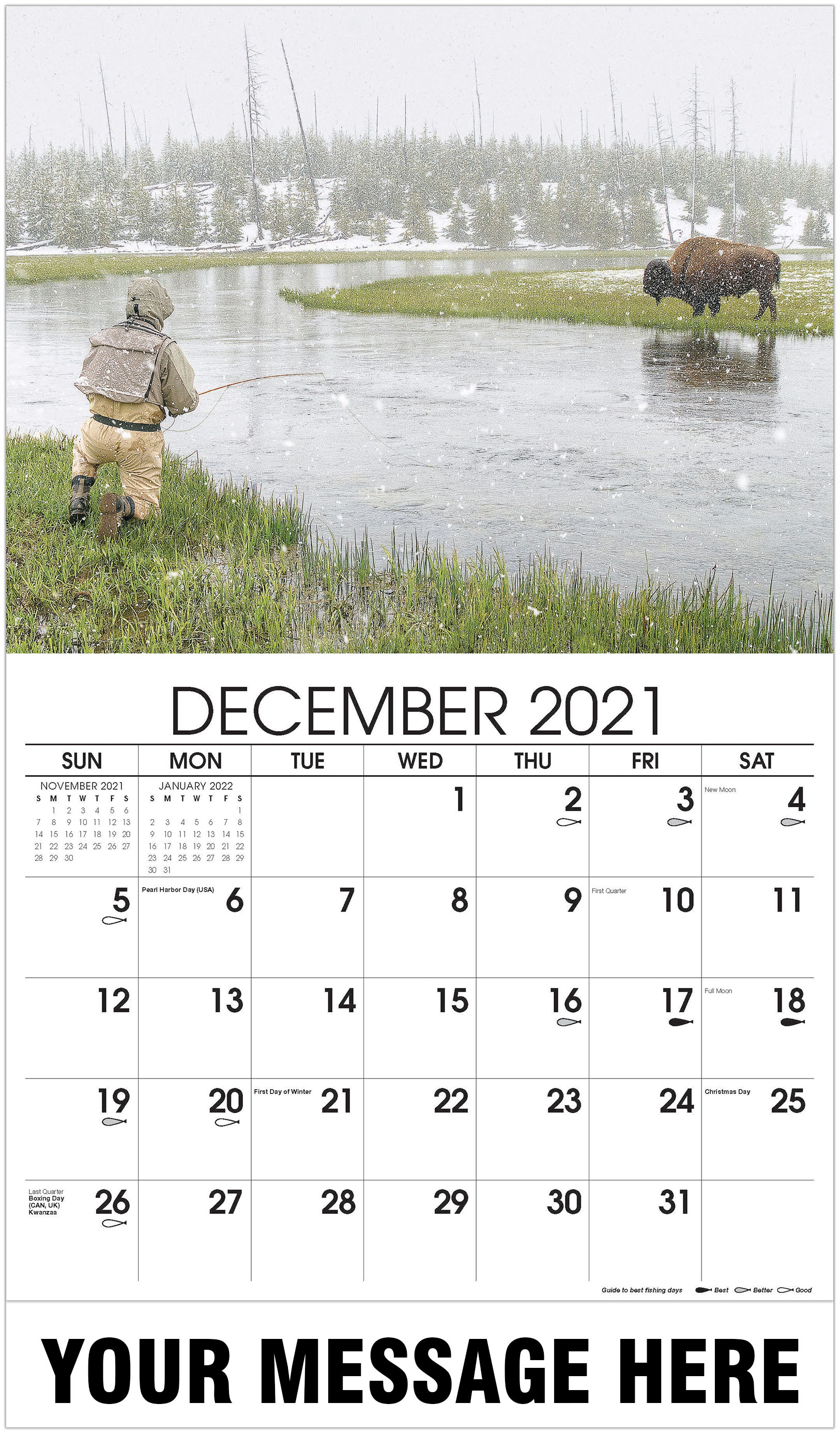 Fishing and a Bison - December 2021 - Fishing & Hunting 2021 Promotional Calendar