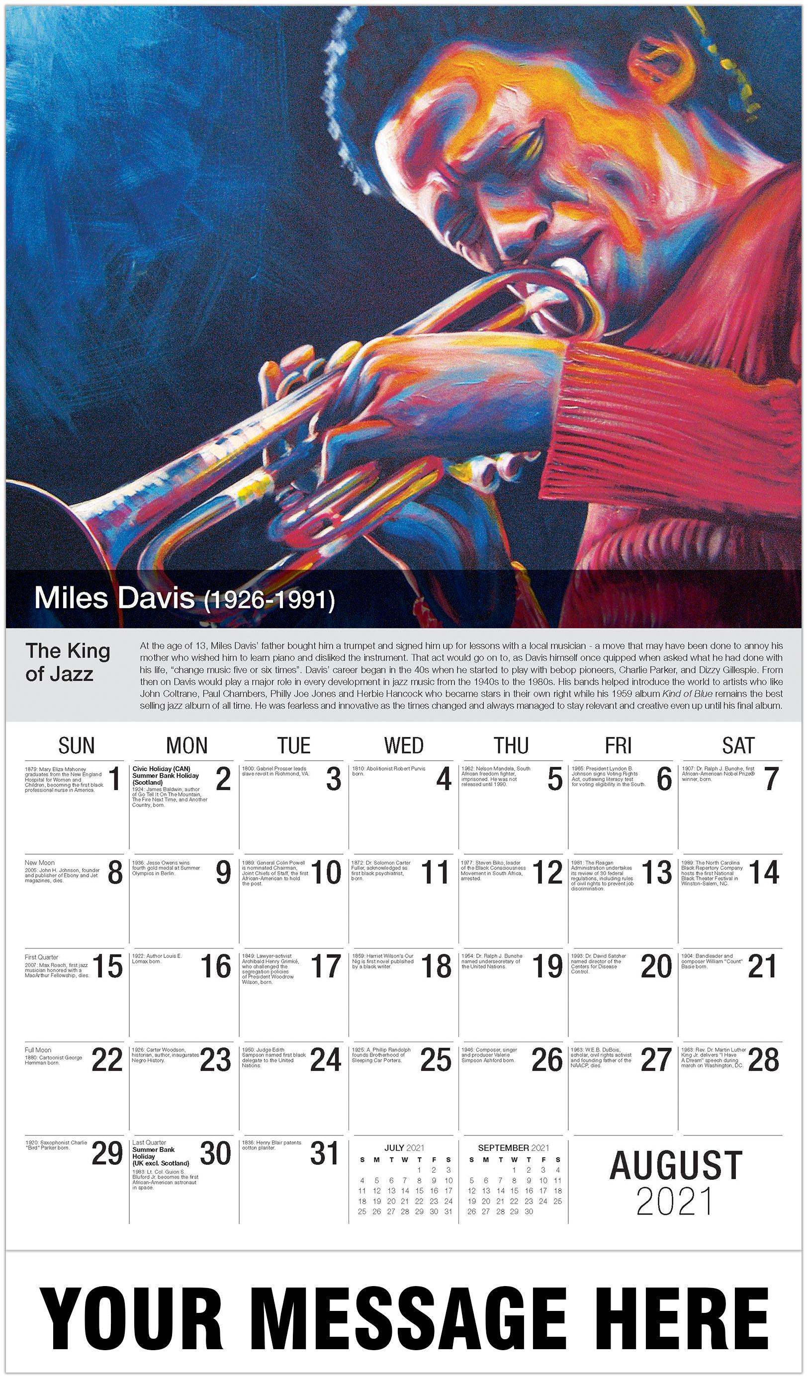 Miles Davis - August - Black History 2021 Promotional Calendar