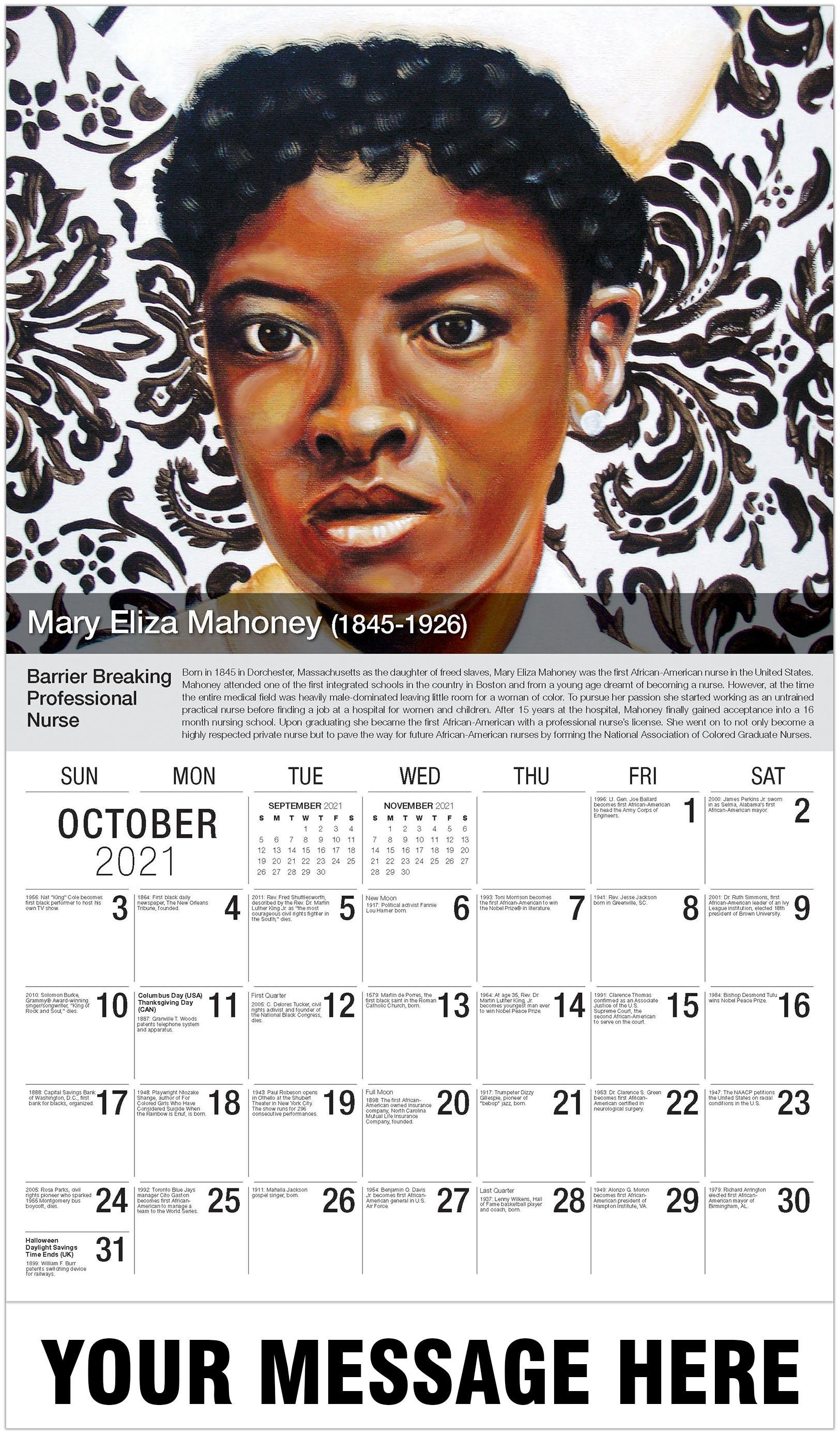 Mary Eliza Mahoney - October - Black History 2021 Promotional Calendar