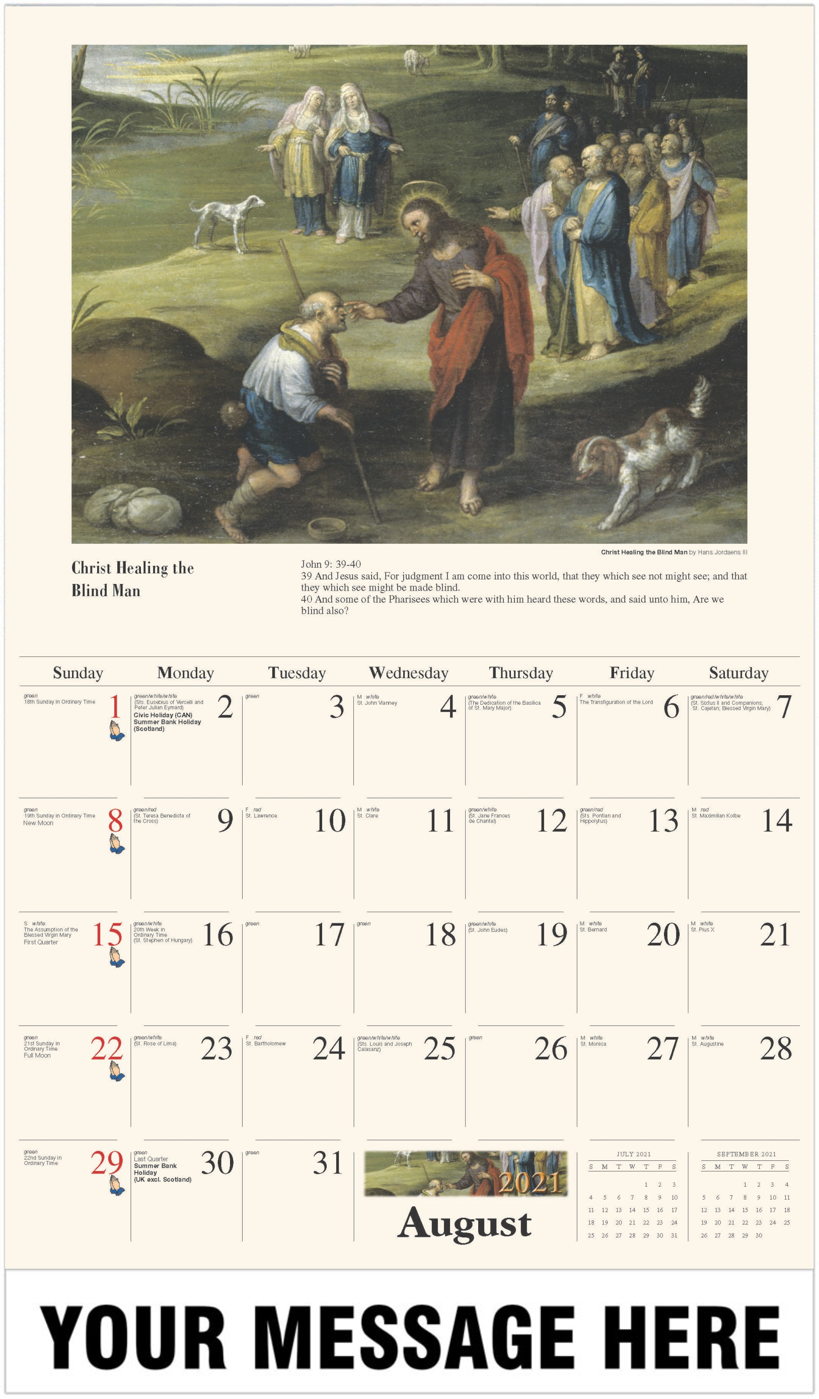 Christ Healing the Blind Man - August - Catholic Inspiration 2021 Promotional Calendar