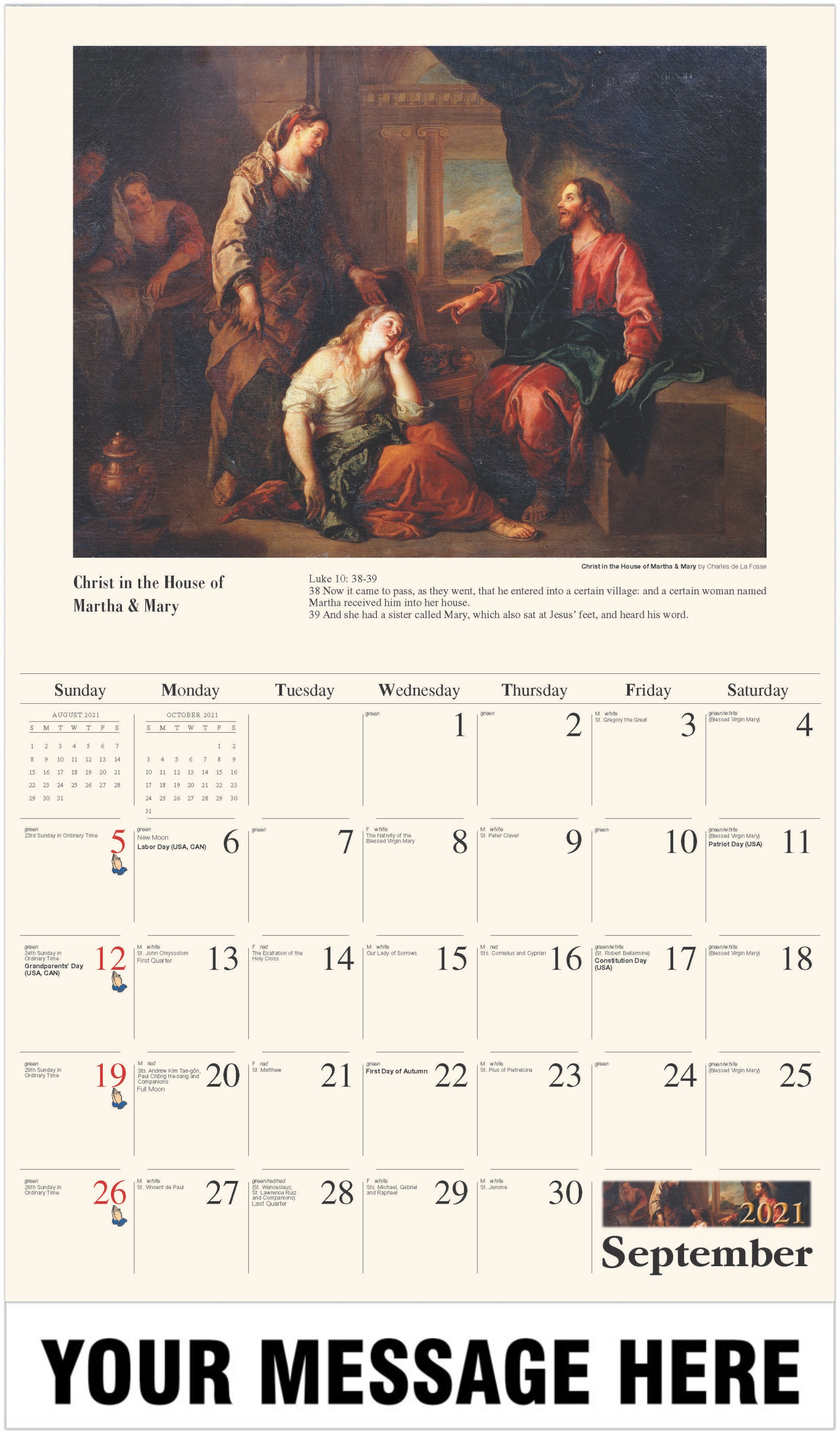 Christ in the House of Martha and Mary - September - Catholic Inspiration 2021 Promotional Calendar