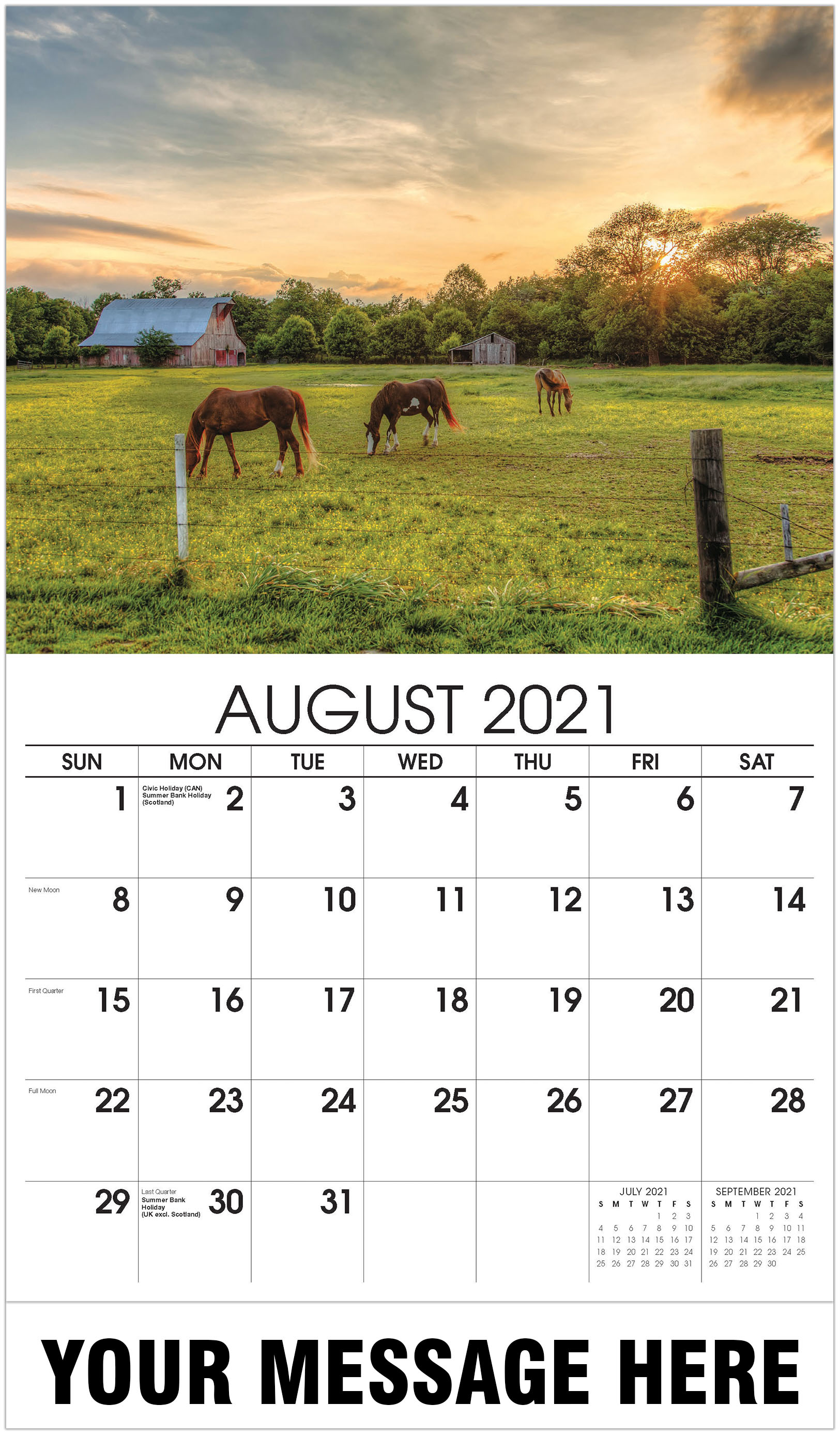 Horses in field - August - Country Spirit 2021 Promotional Calendar