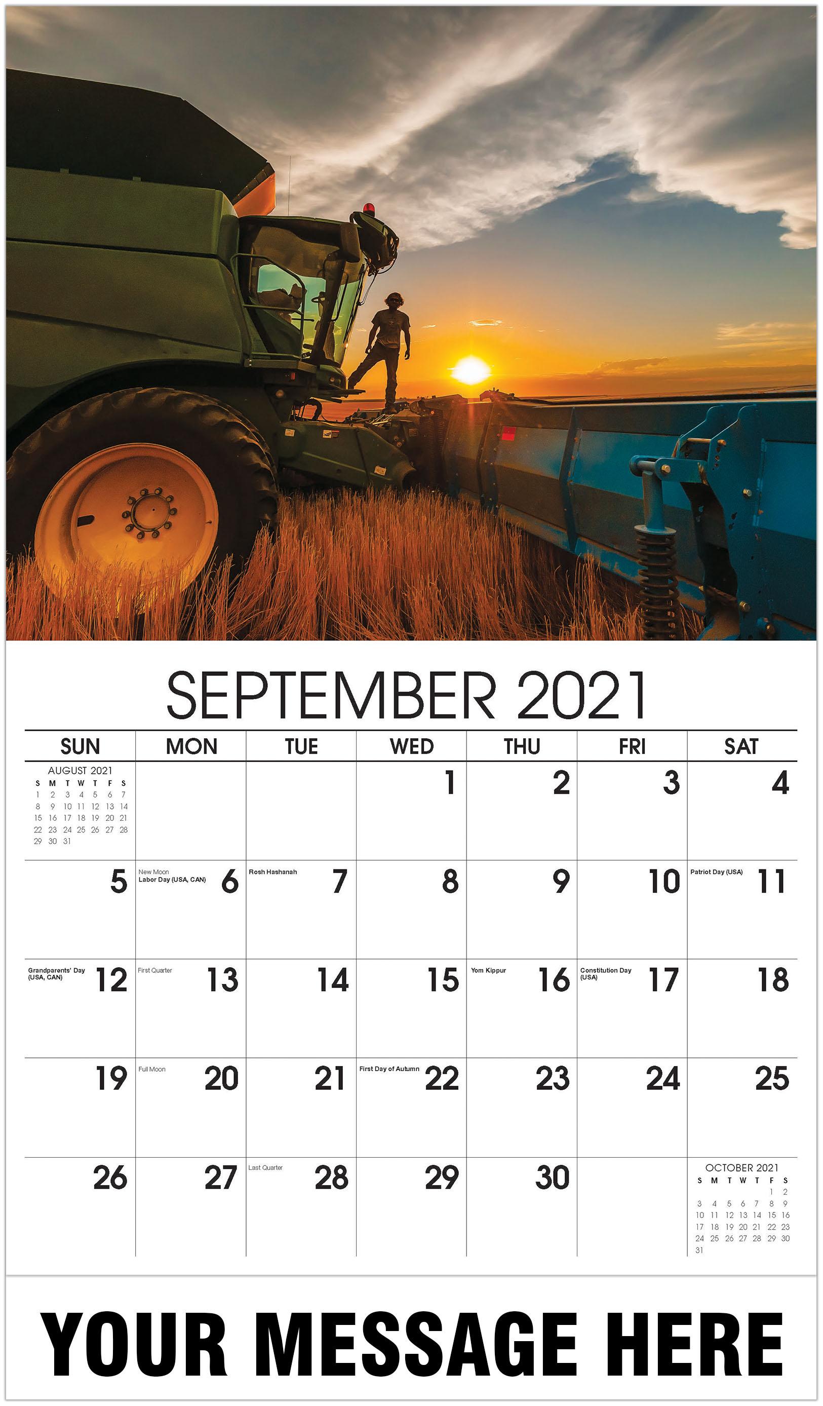 Farmer sunset on tractor - September - Country Spirit 2021 Promotional Calendar