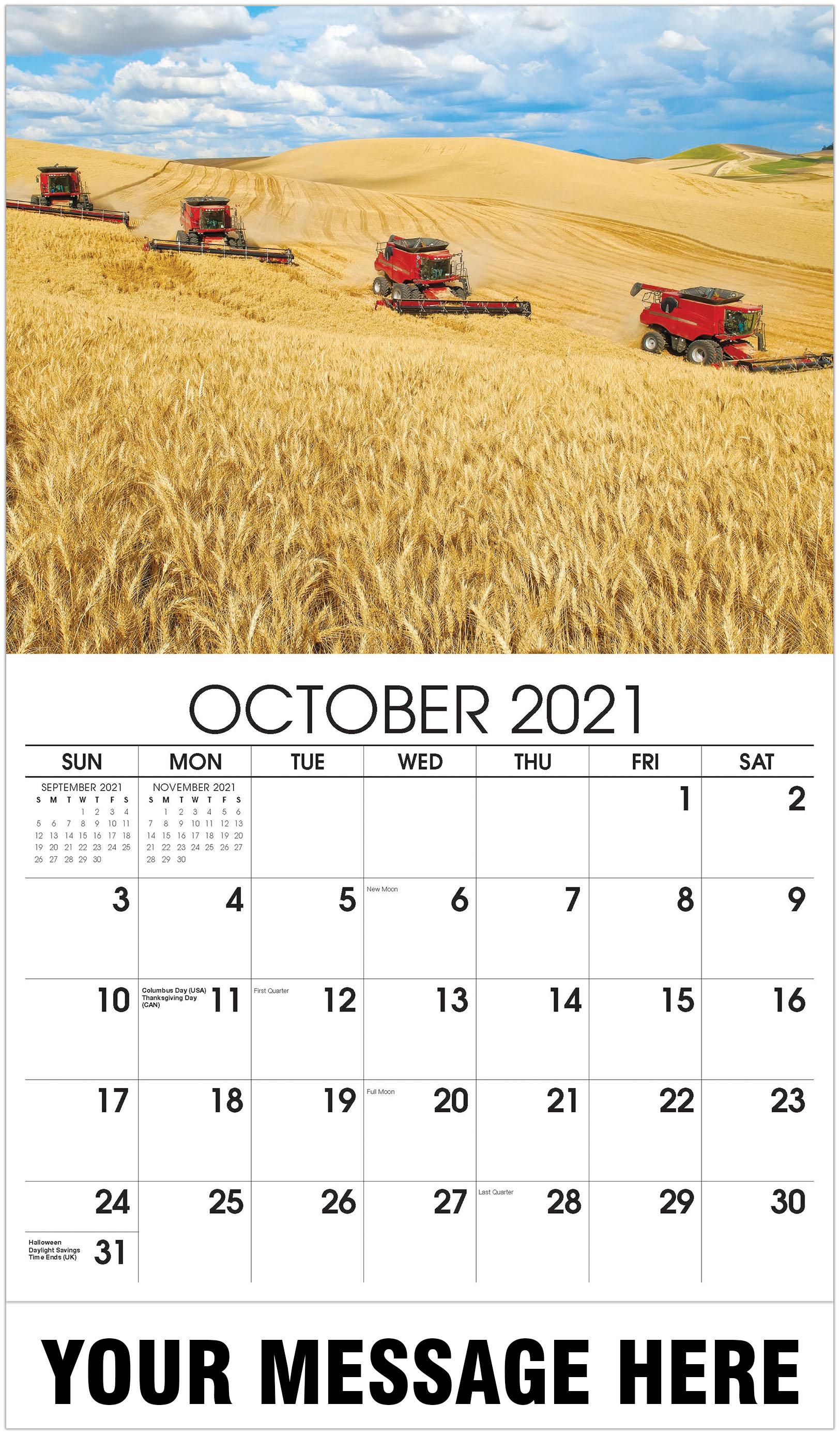 Harvest time - October - Country Spirit 2021 Promotional Calendar