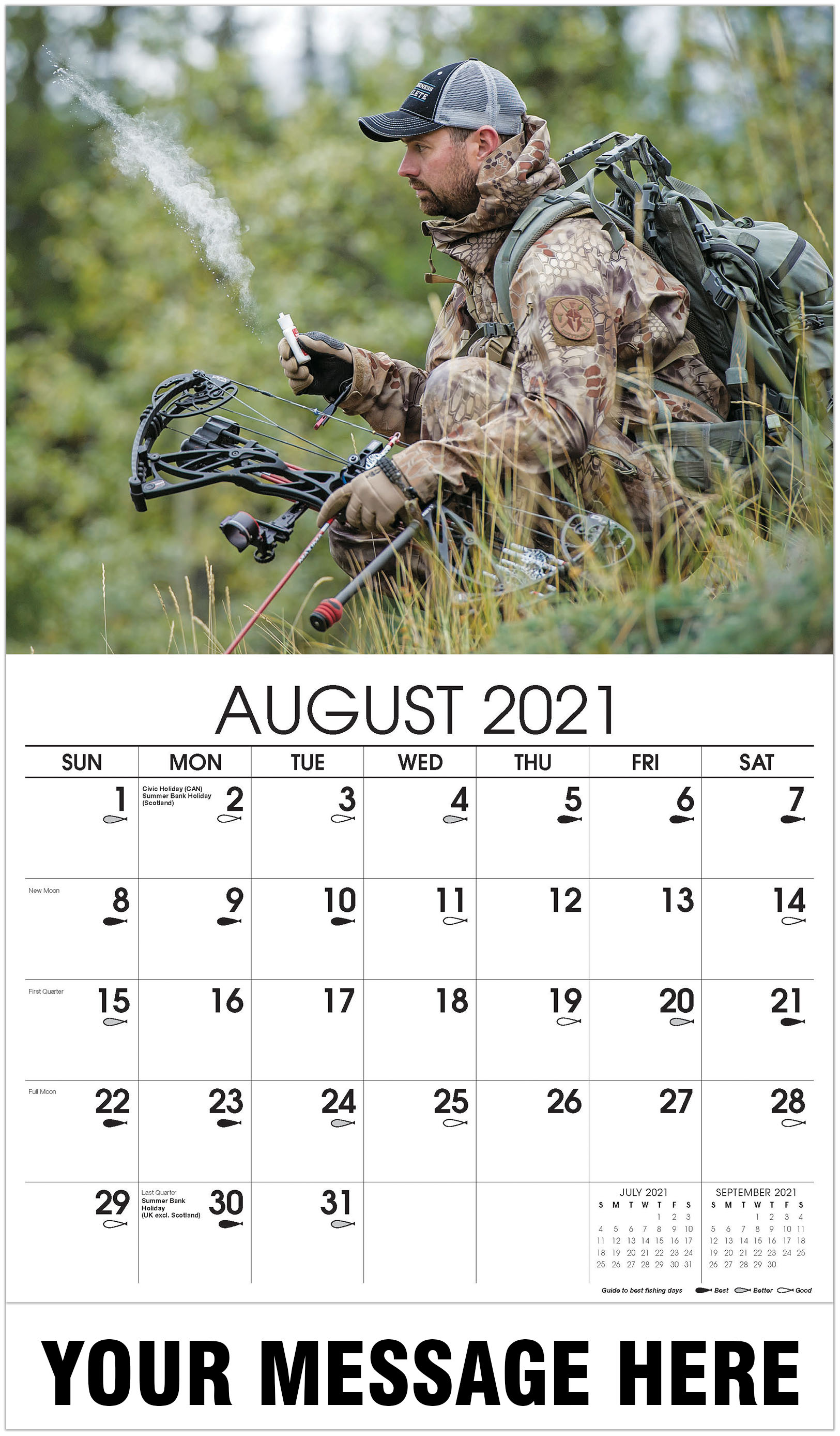 Hunter with bow and arrow - August - Fishing & Hunting 2021 Promotional Calendar