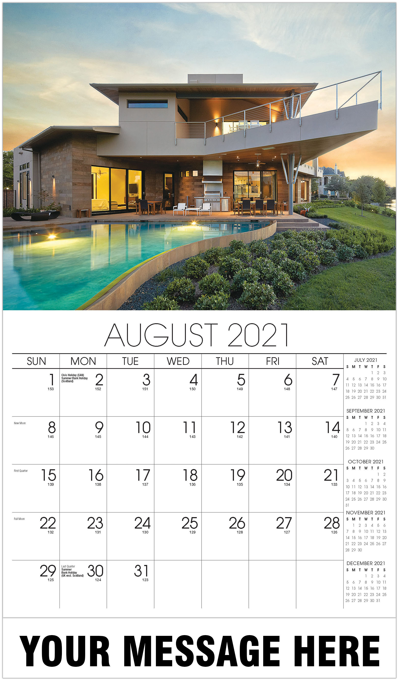 Luxury Homes Calendar - August - Homes 2021 Promotional Calendar