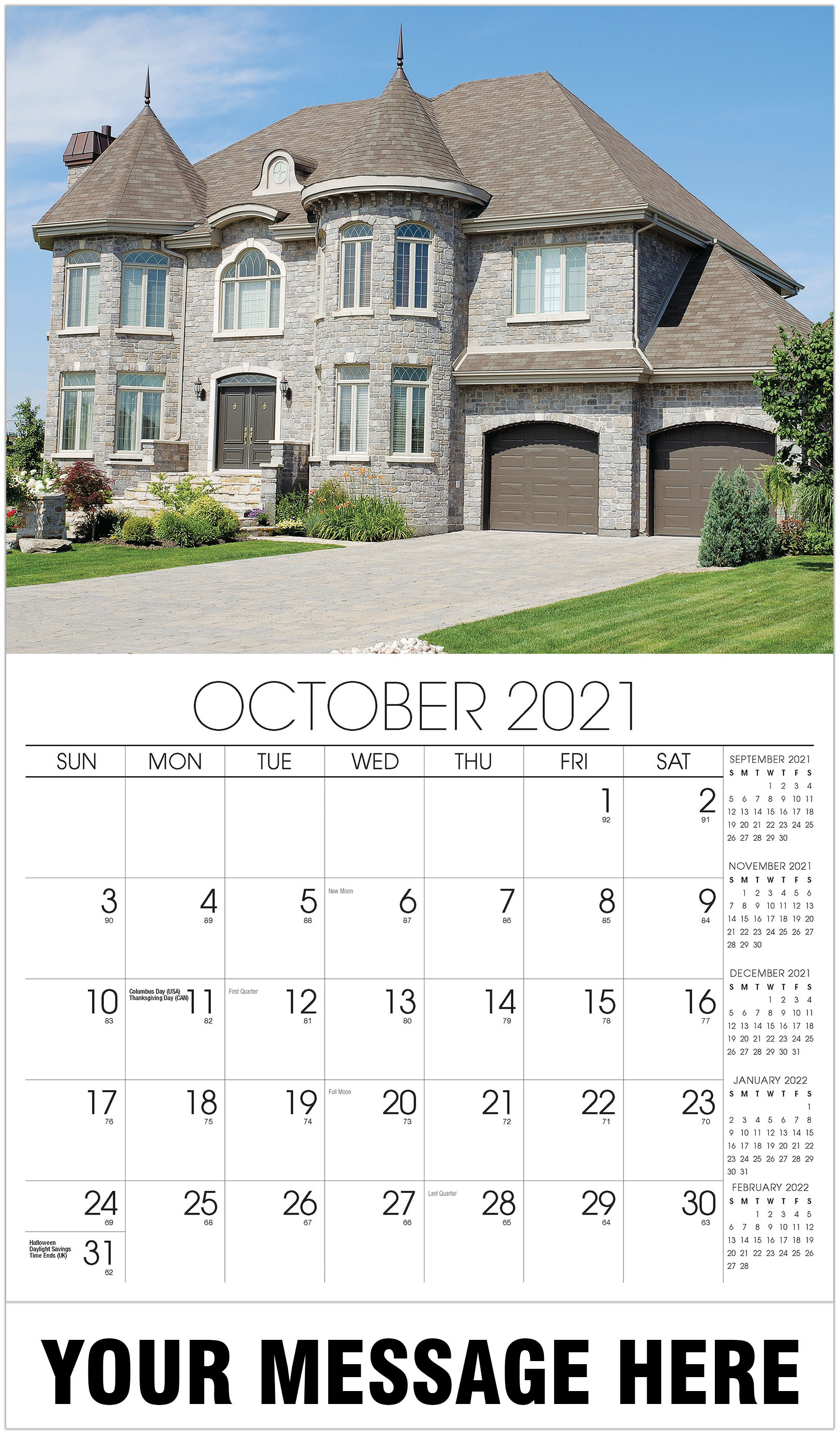 Luxury Homes Calendar - October - Homes 2021 Promotional Calendar
